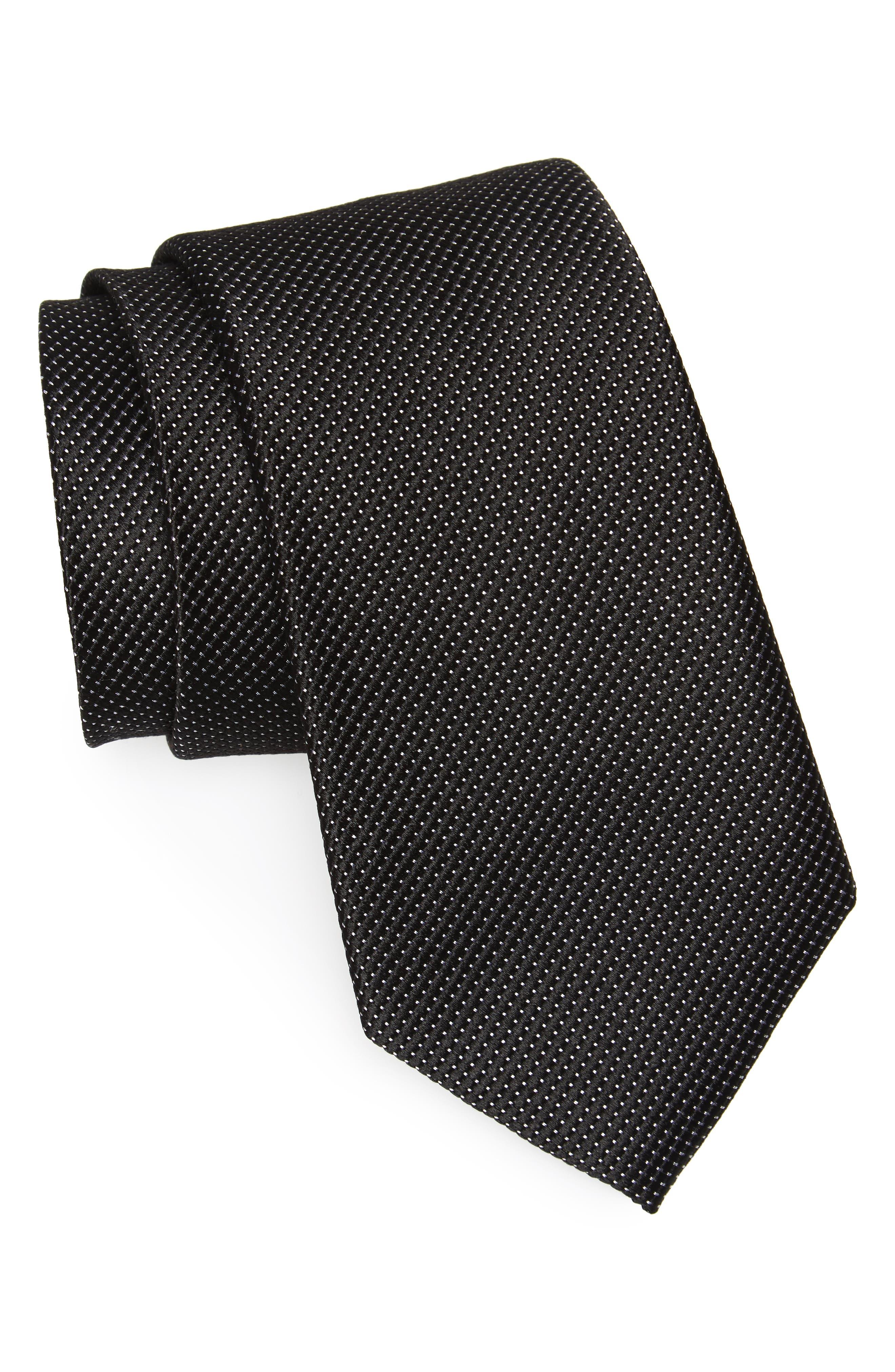 Vendôme Dot Silk Tie,                             Main thumbnail 1, color,                             BLACK