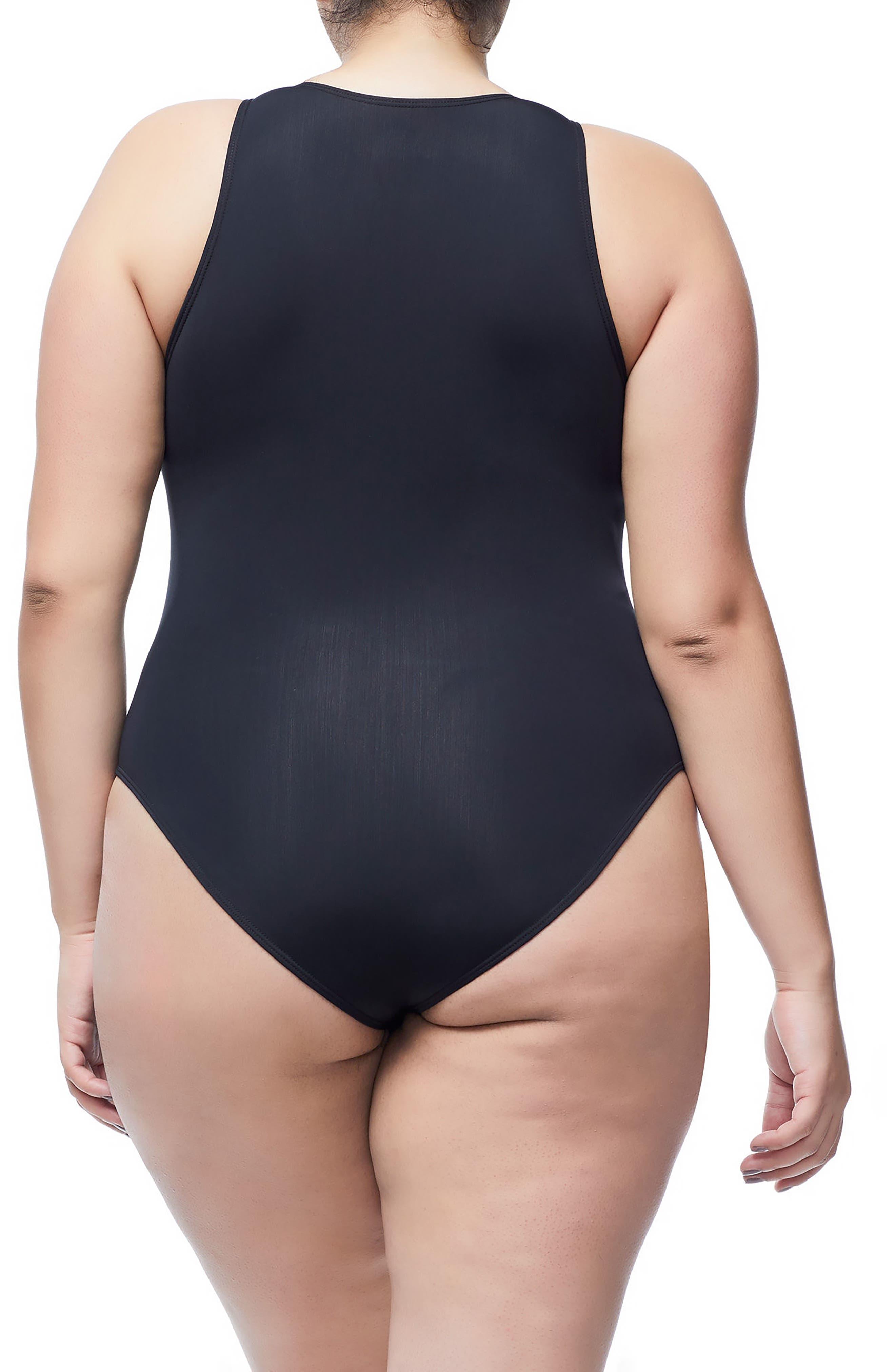 Good Body Muscle Cutout Bodysuit,                             Alternate thumbnail 6, color,                             BLACK