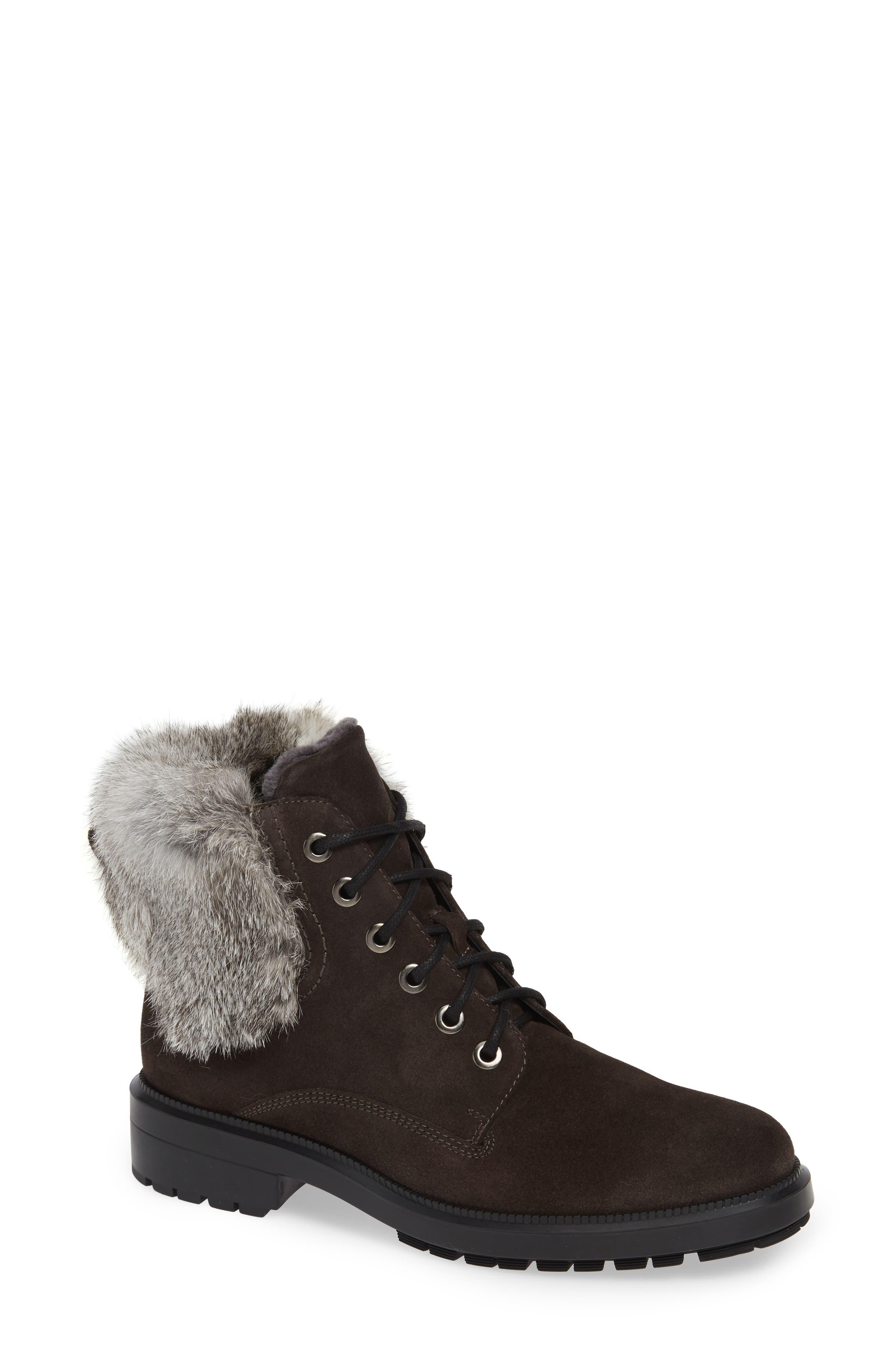 Aquatalia Lacy Genuine Shearling Lined Boot With Genuine Rabbit Fur Trim, Grey