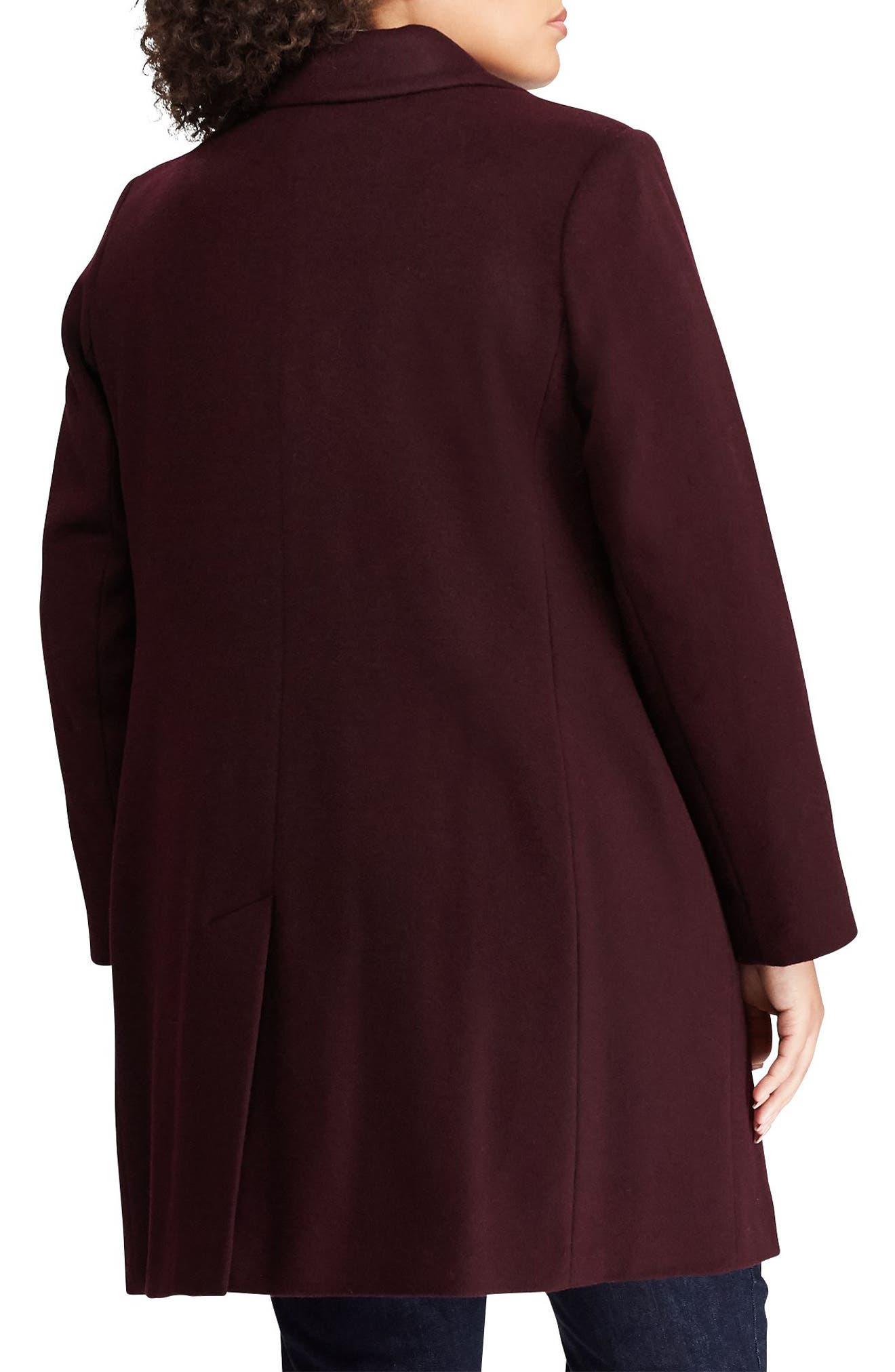 LAUREN RALPH LAUREN,                             Wool Blend Reefer Coat,                             Alternate thumbnail 2, color,                             BURGUNDY