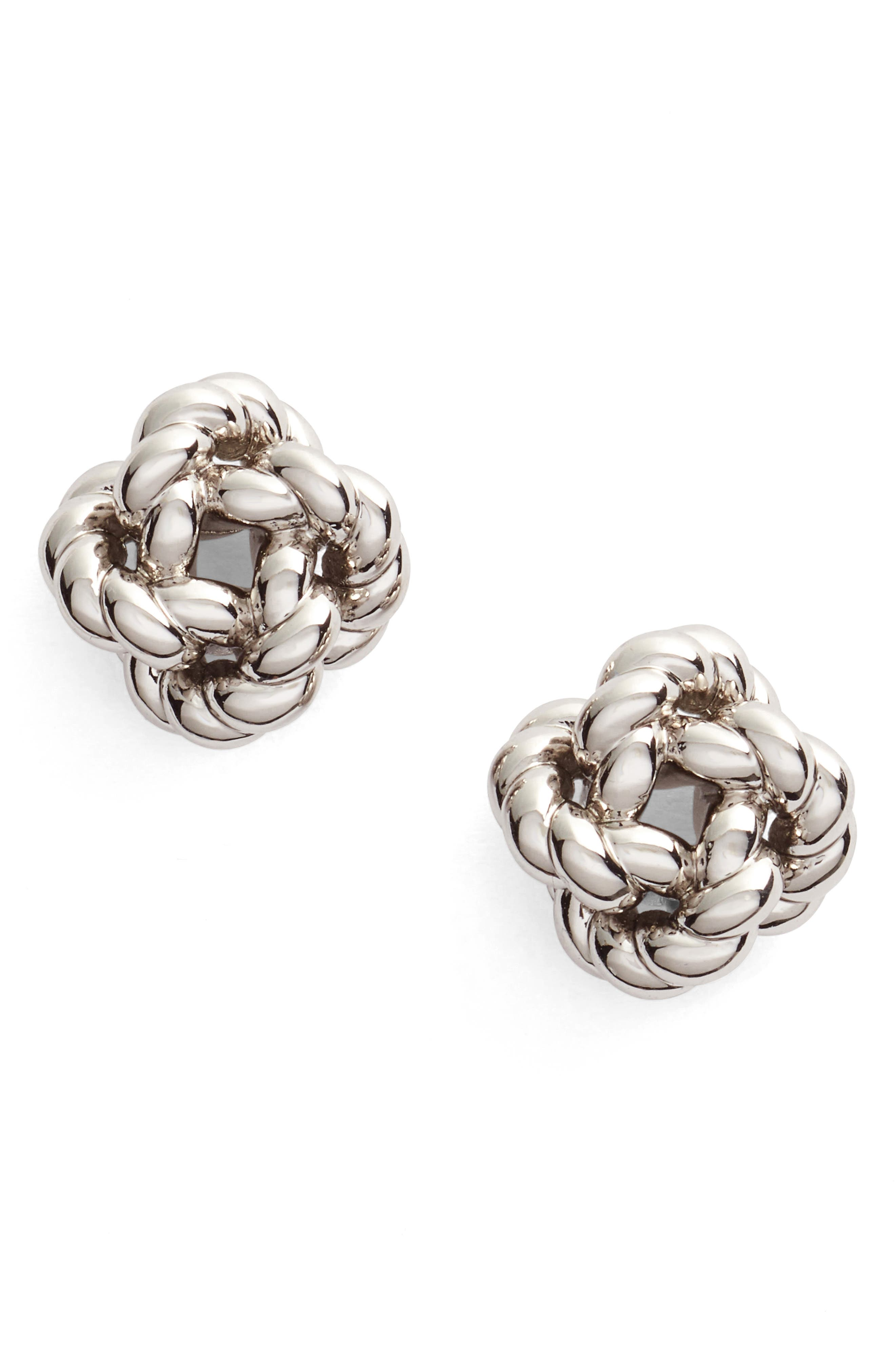Rope Knot Stud Earrings,                         Main,                         color, TORY SILVER
