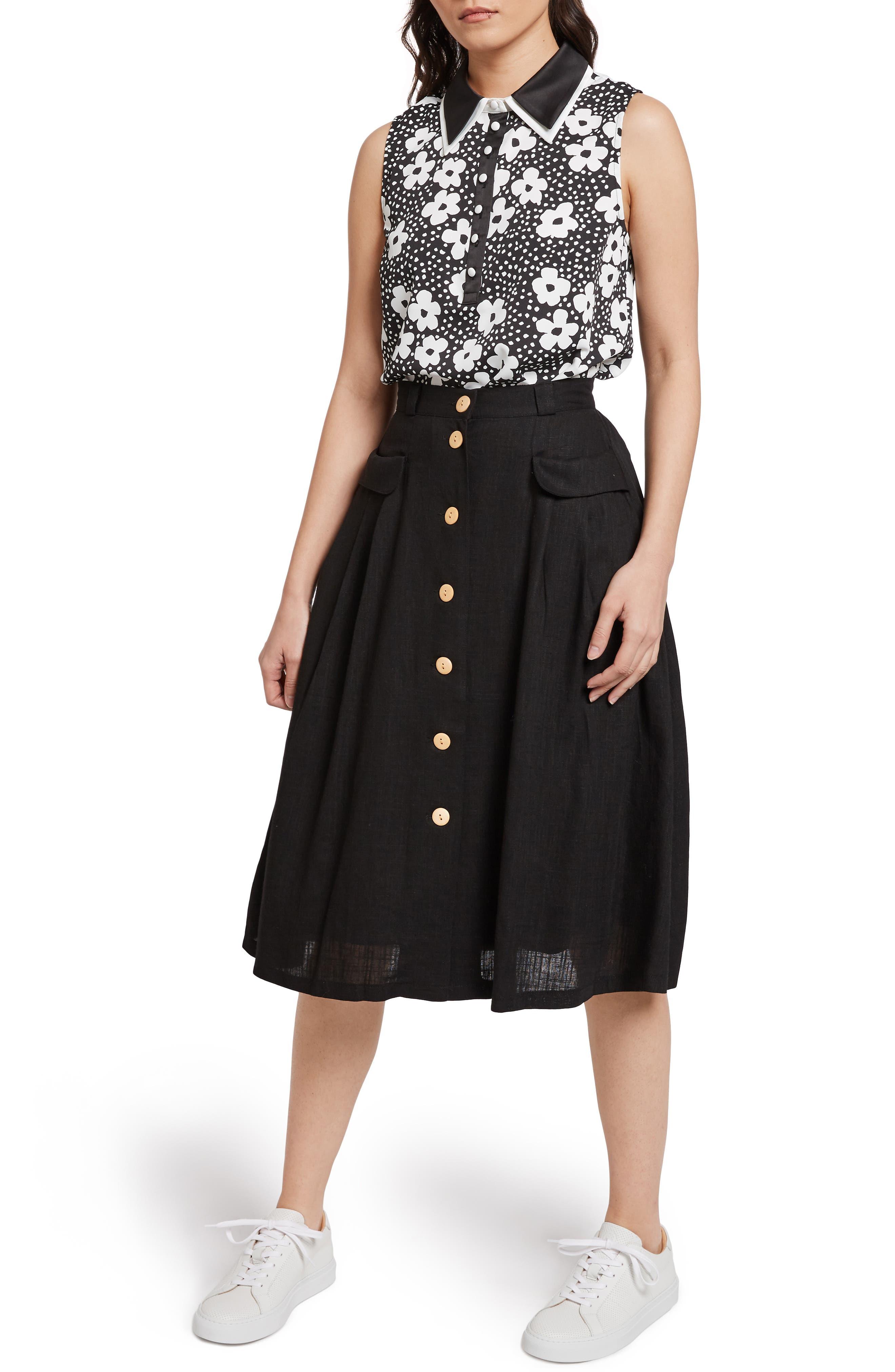 MODCLOTH,                             Pleat Midi Skirt,                             Alternate thumbnail 6, color,                             BLACK