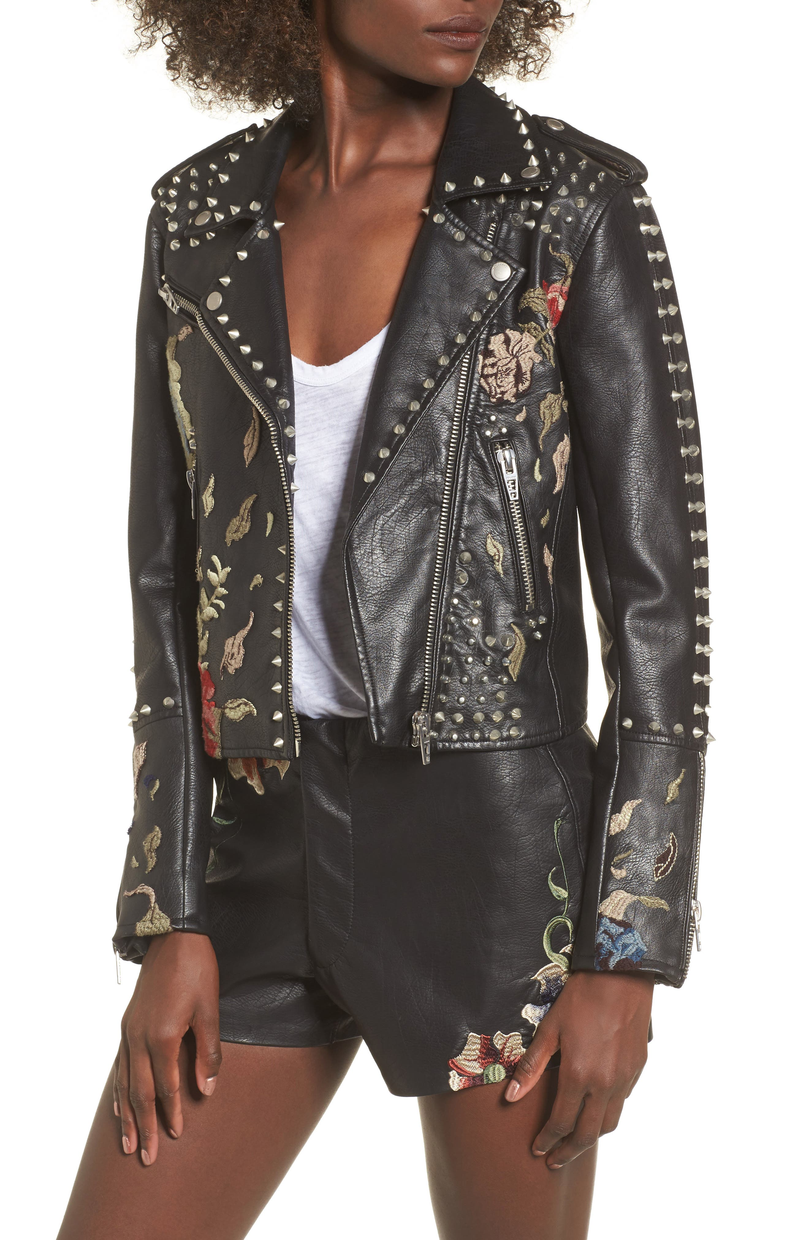 Embroidered Studded Moto Jacket,                             Main thumbnail 1, color,                             001