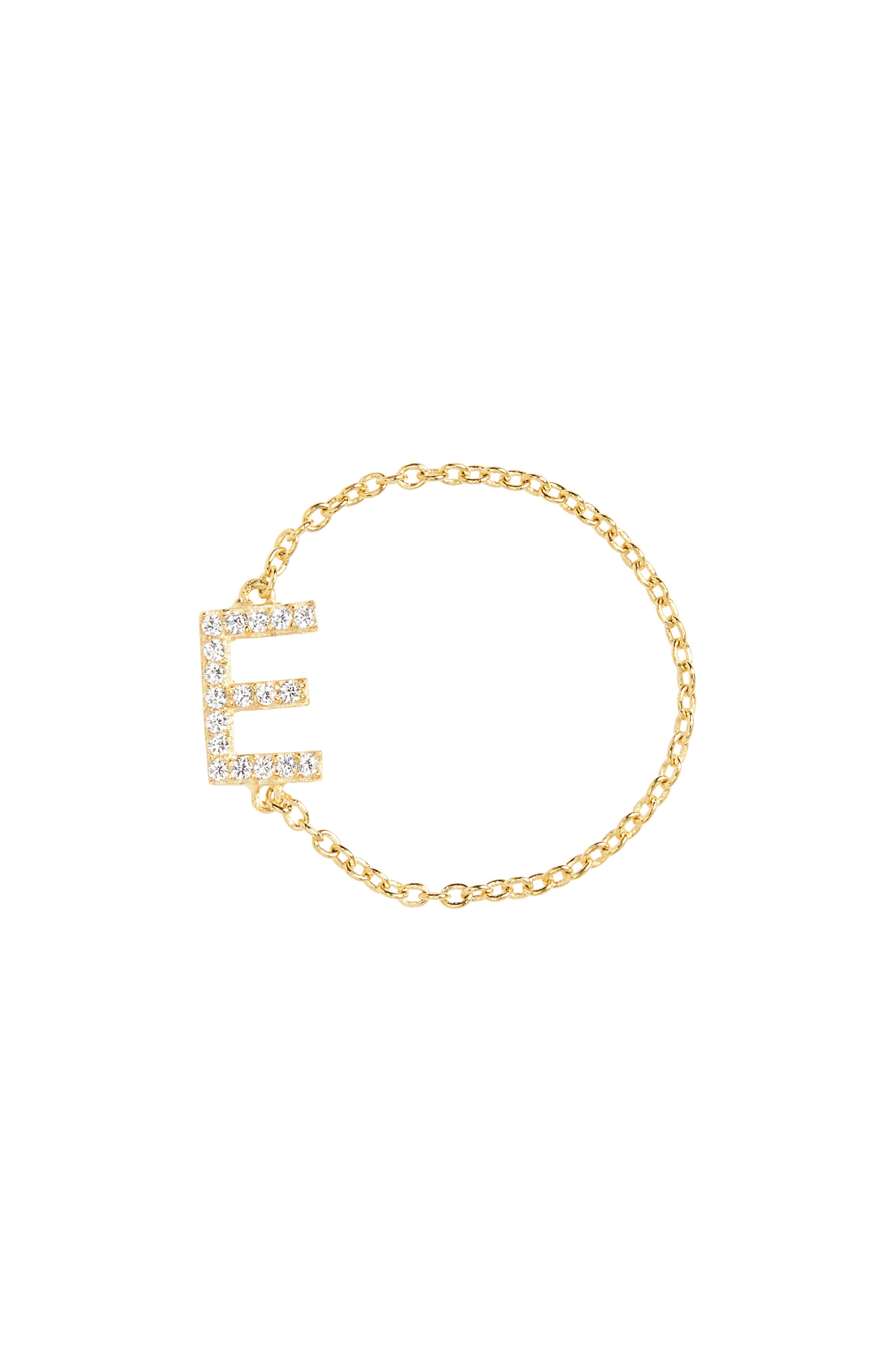 Nome Everyday Fine Crystal Initial Chain Ring,                             Main thumbnail 4, color,