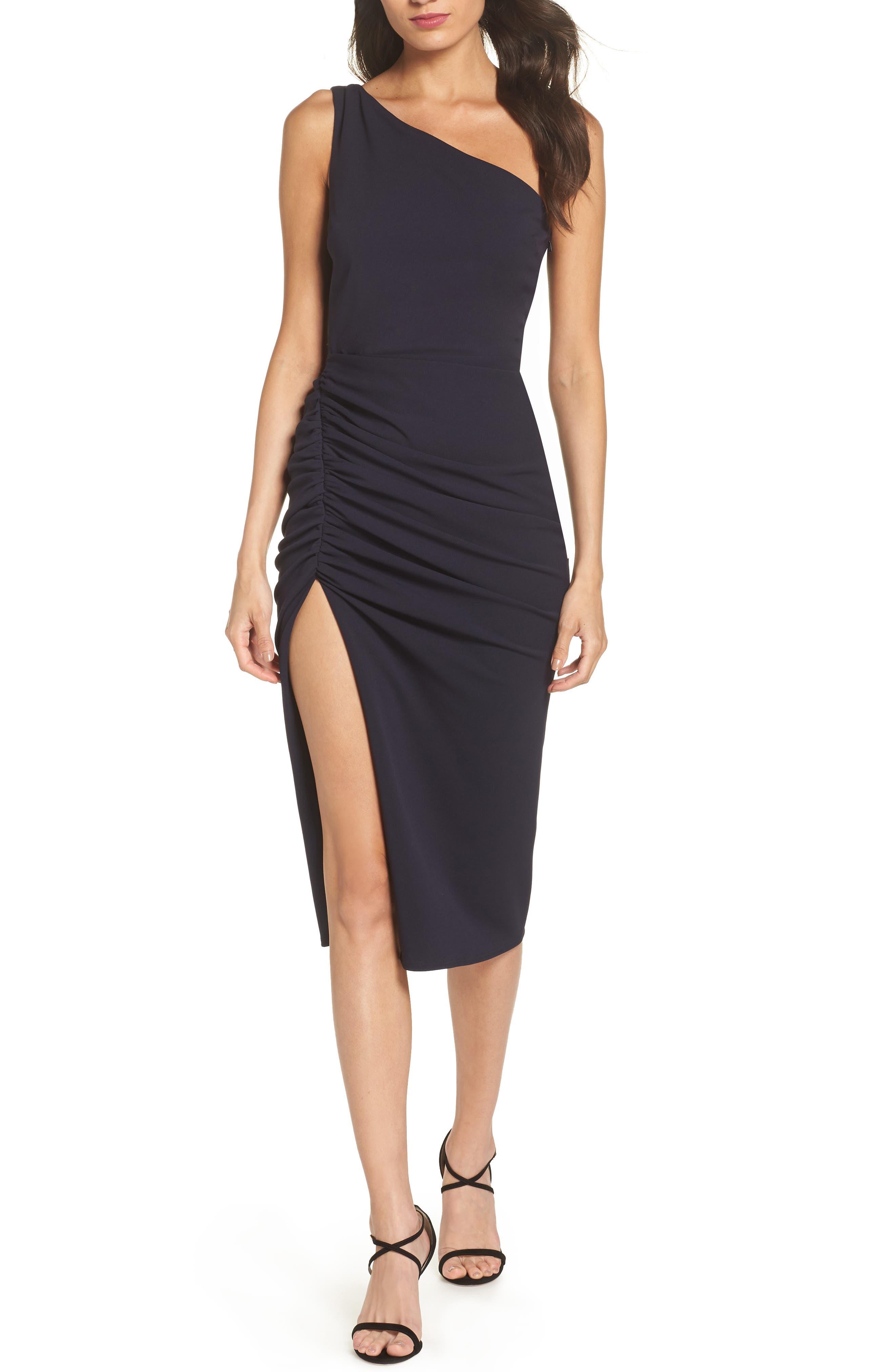 One-Shoulder Crepe Dress,                         Main,                         color, NAVY