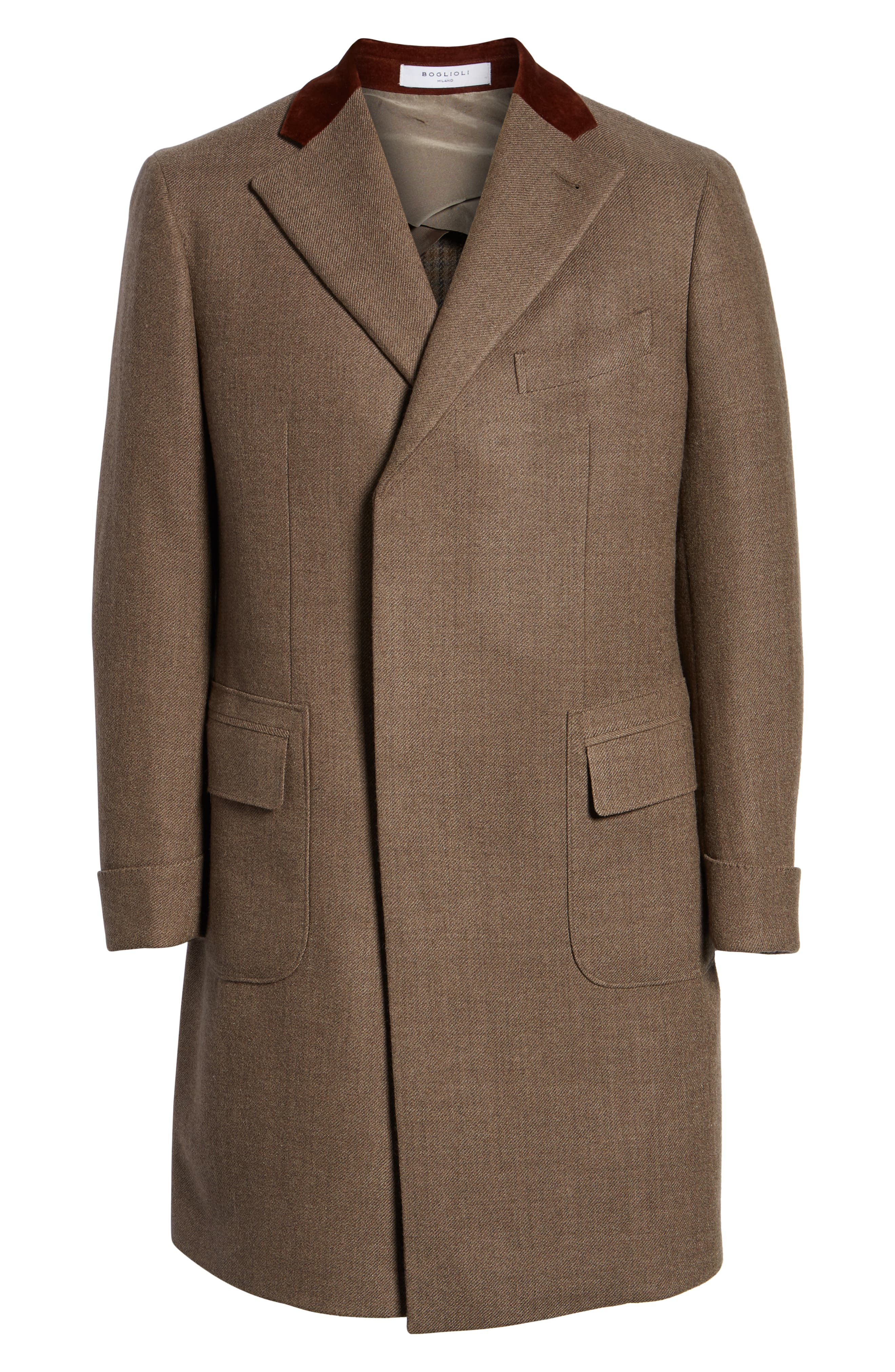 Trim Fit Wool Chesterfield Coat,                             Alternate thumbnail 5, color,                             TAN