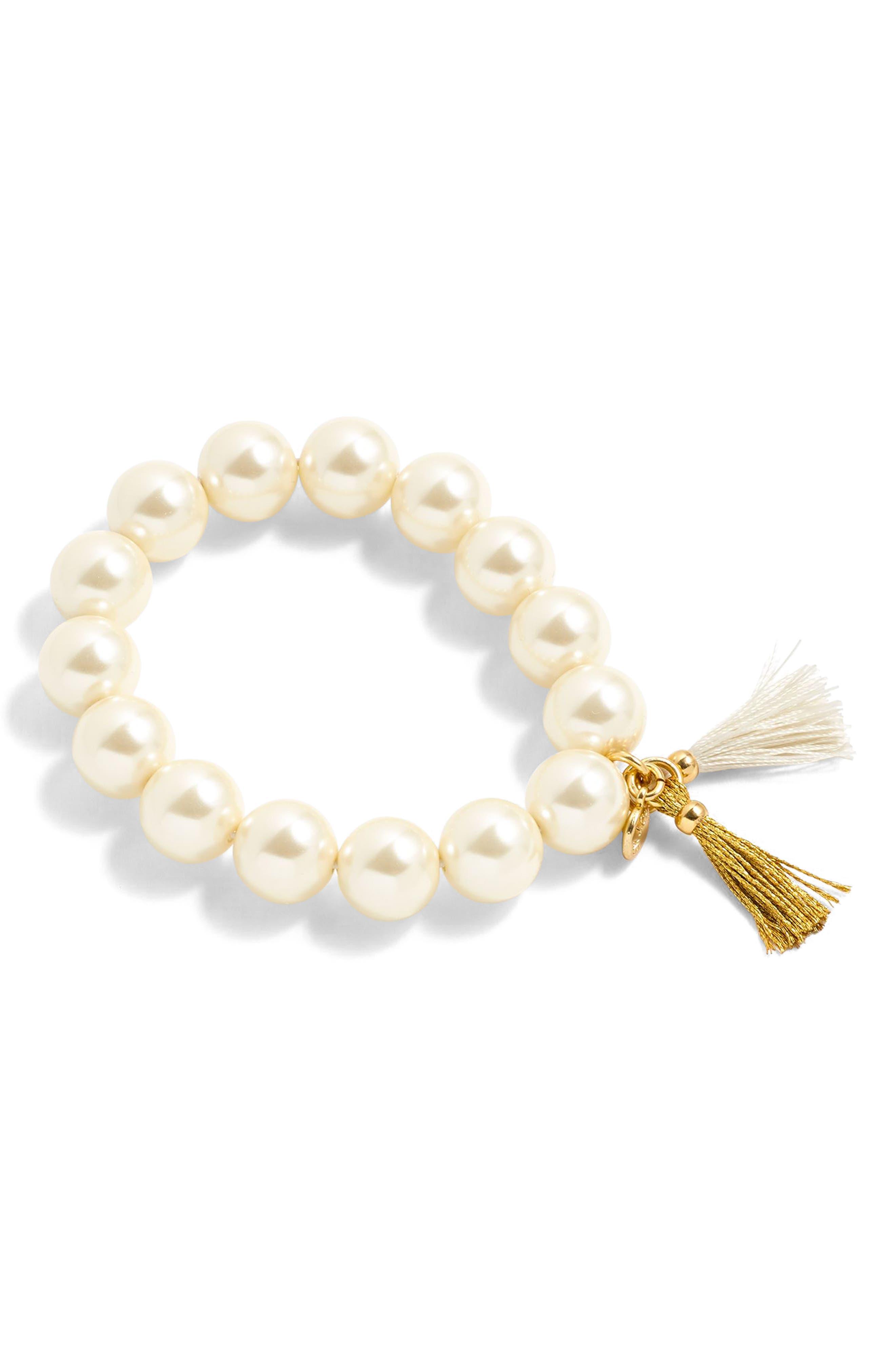 J.CREW,                             Imitation Pearl Stretch Bracelet,                             Main thumbnail 1, color,                             900