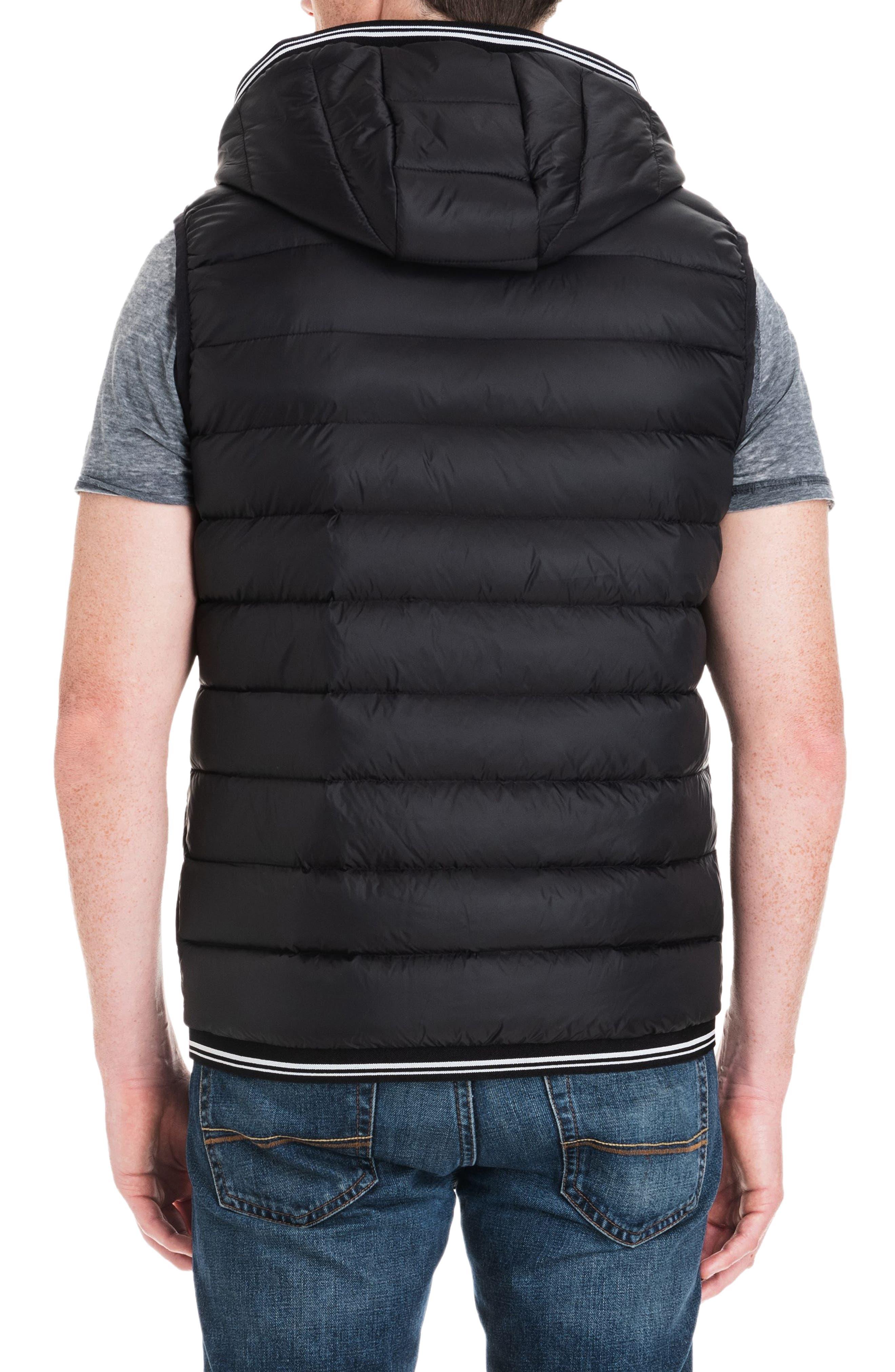 Locke Hooded Quilted Vest,                             Alternate thumbnail 2, color,                             BLACK