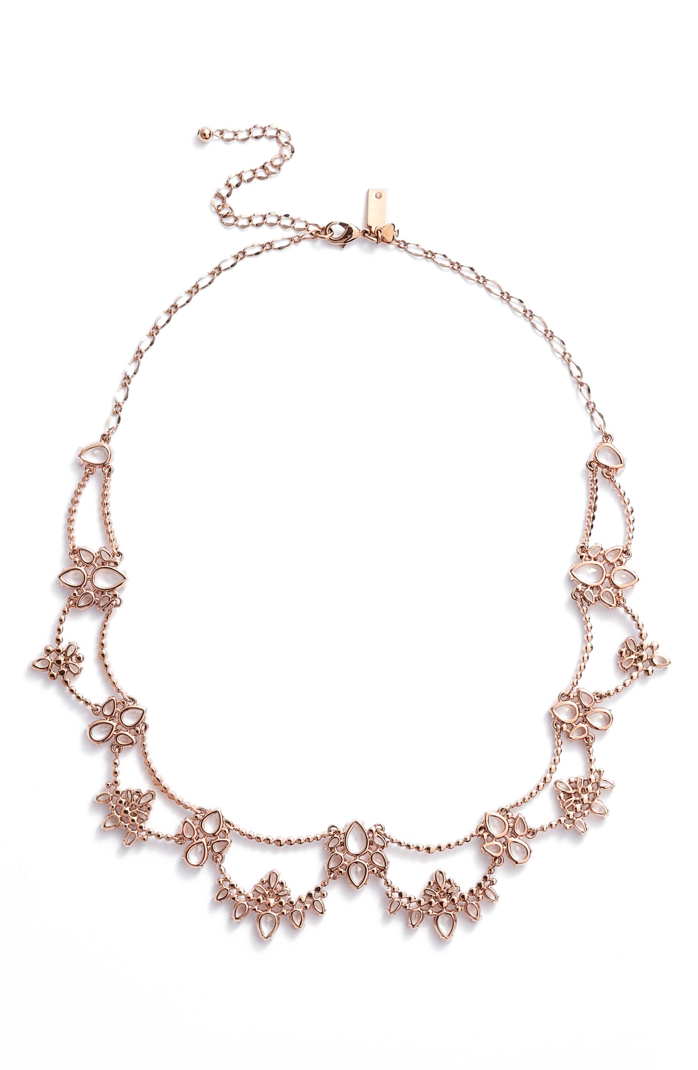 cascade crystal collar necklace,                             Main thumbnail 1, color,                             ROSE GOLD