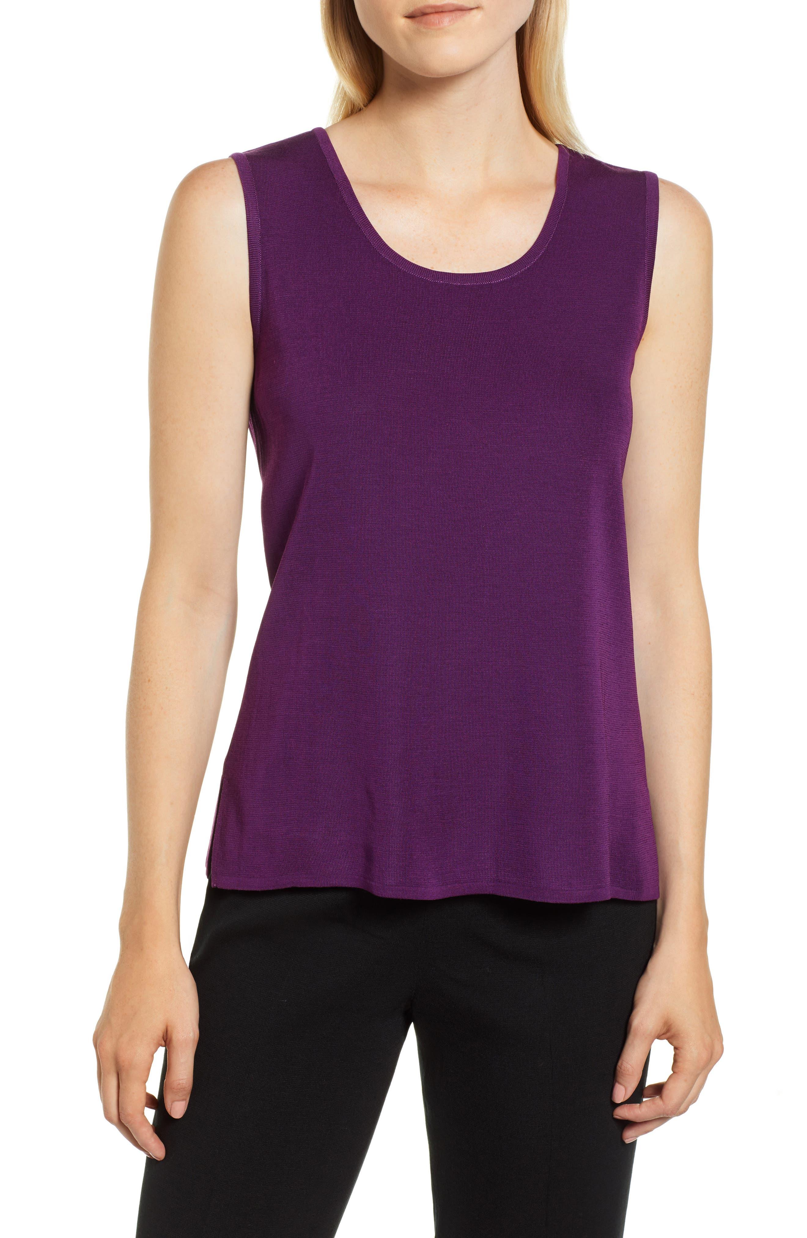 Ming Wang Scoop Neck Knit Tank, Purple