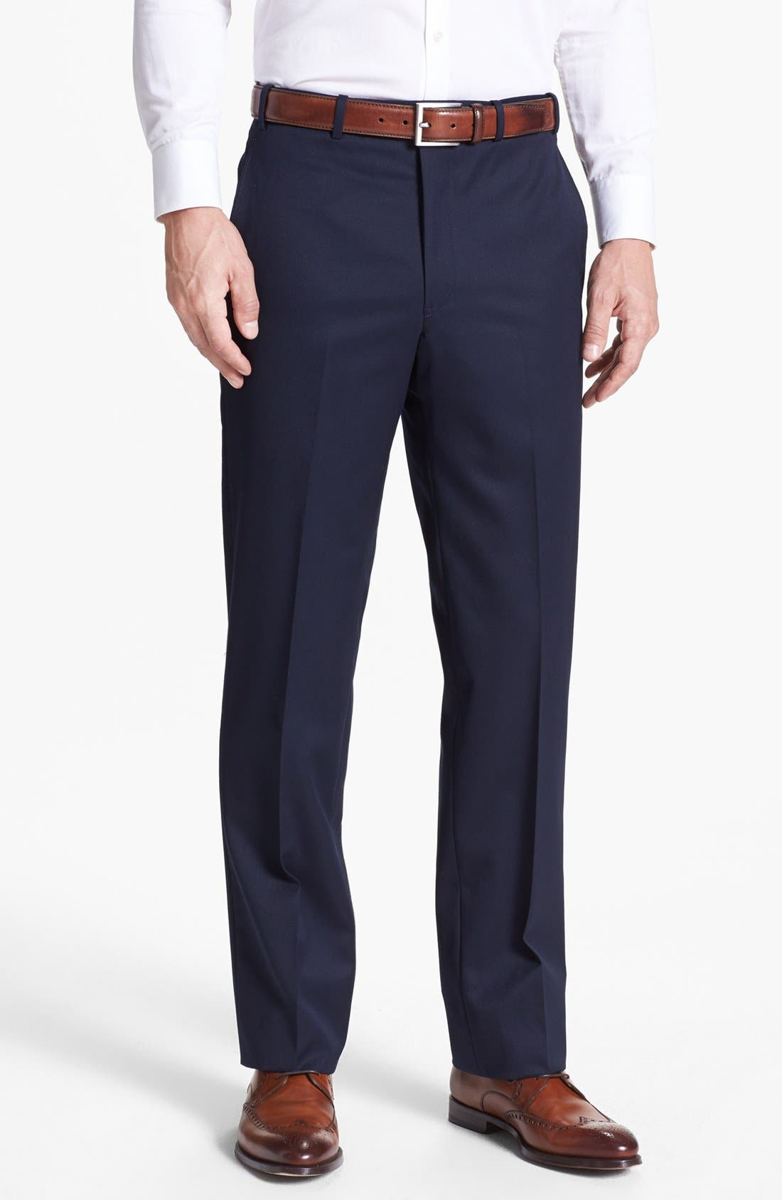 Flat Front Worsted Wool Trousers,                         Main,                         color,
