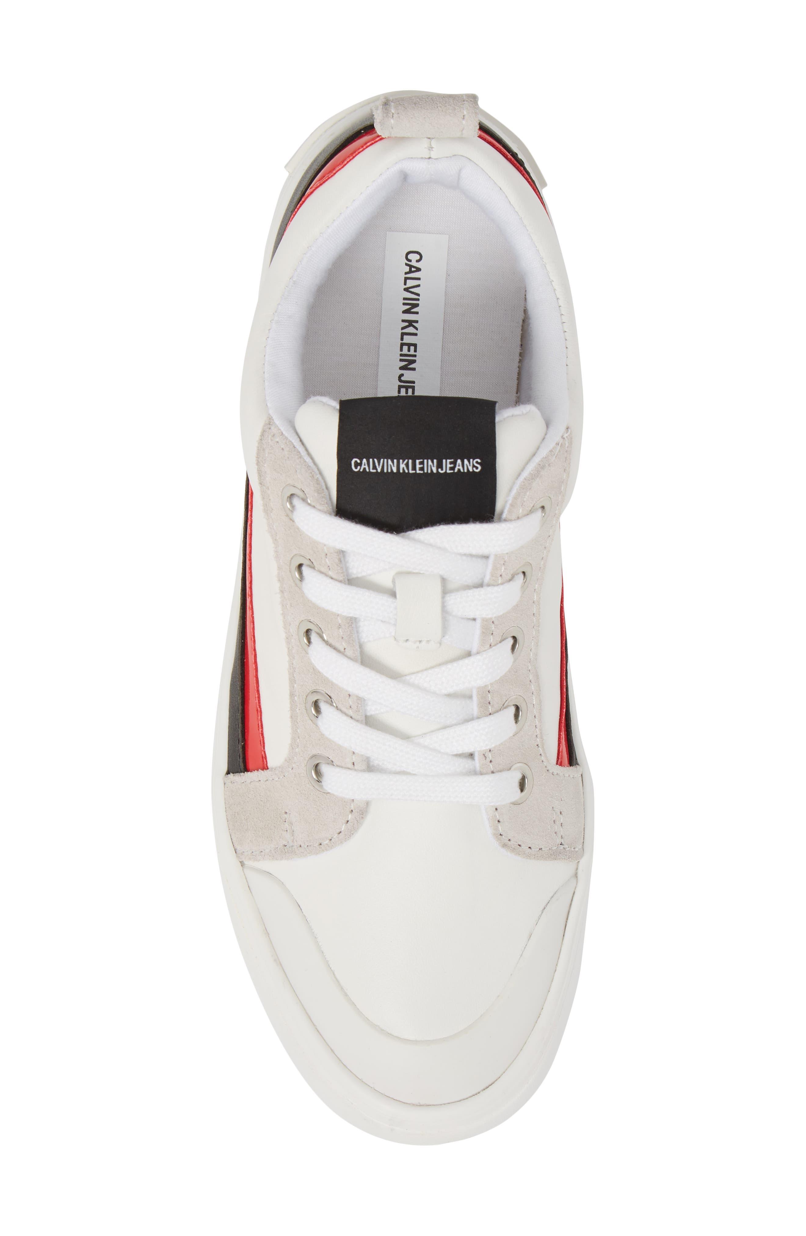 Dodie Sneaker,                             Alternate thumbnail 5, color,                             WHITE/ BLACK/ TOMATO