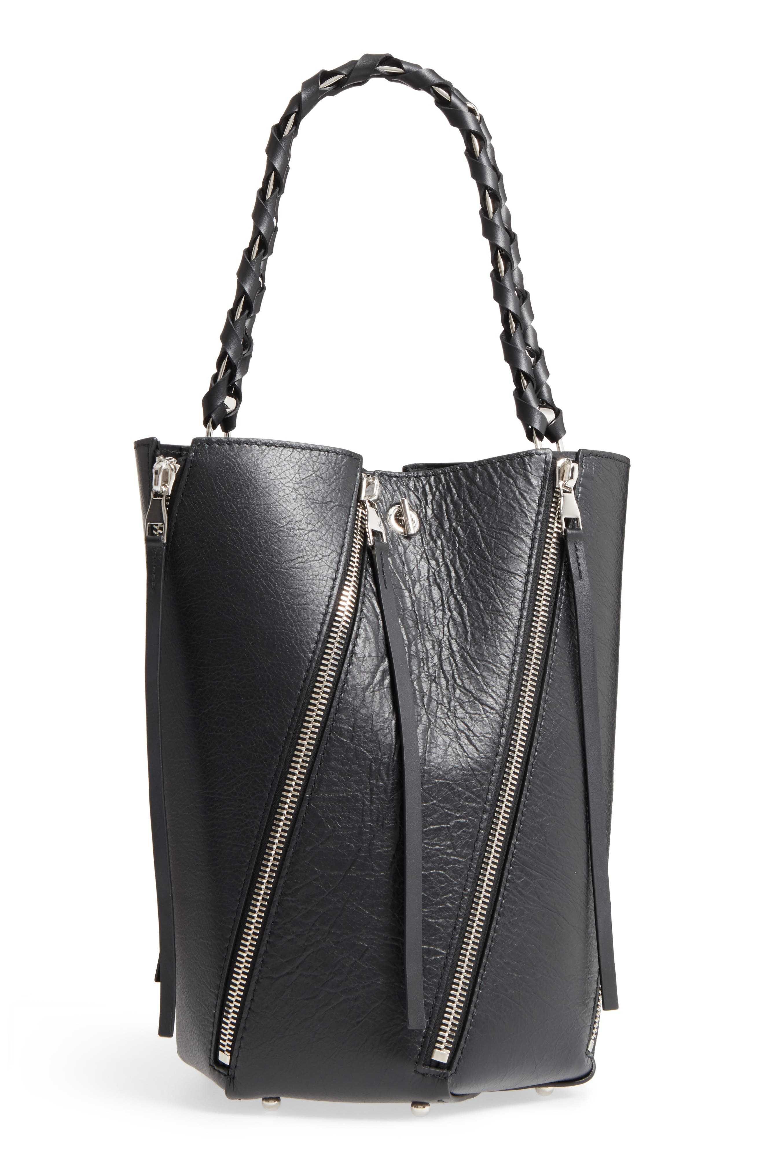 Medium Hex Zip Leather Bucket Bag,                             Main thumbnail 1, color,                             001