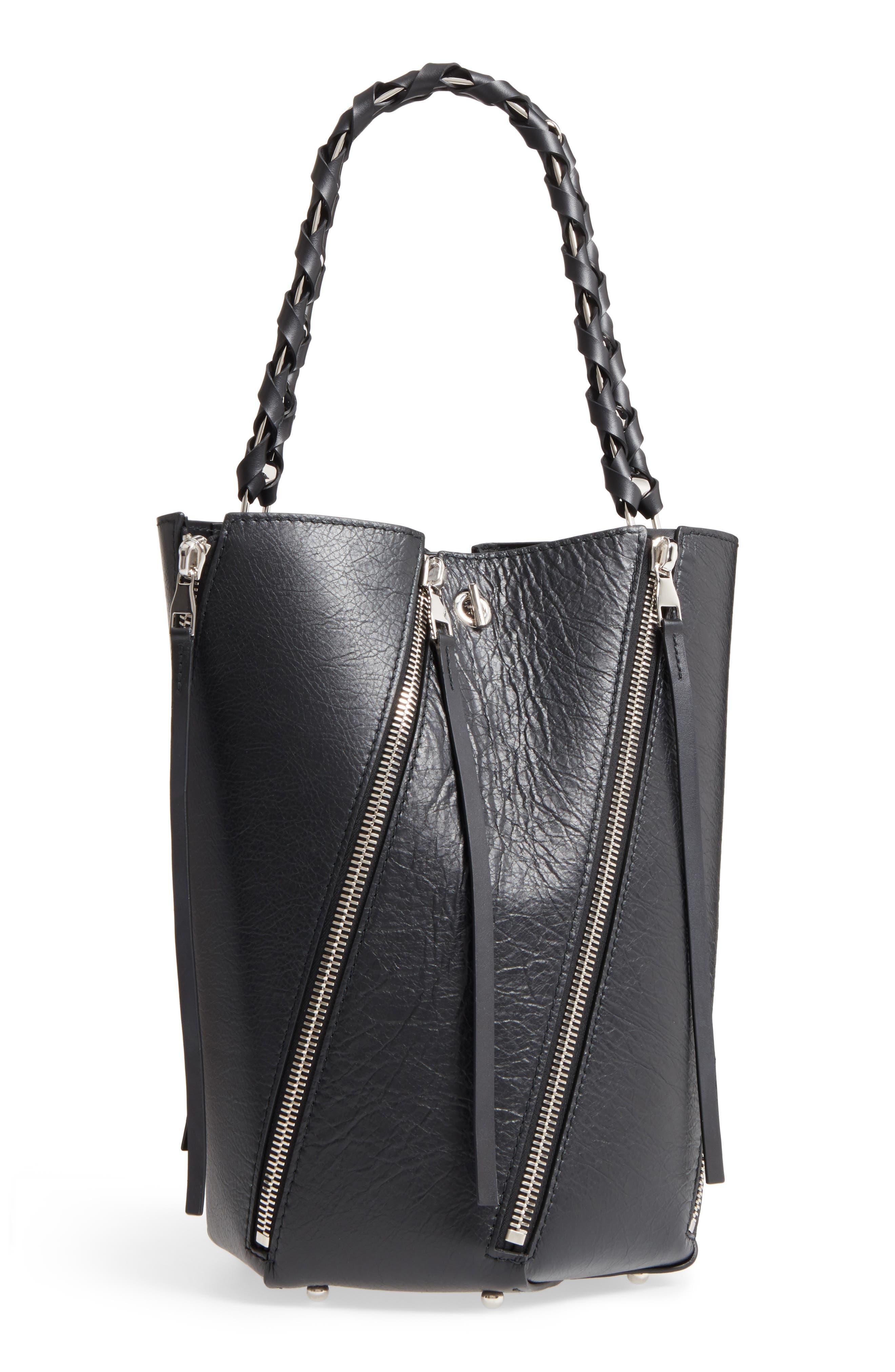 Medium Hex Zip Leather Bucket Bag,                         Main,                         color,