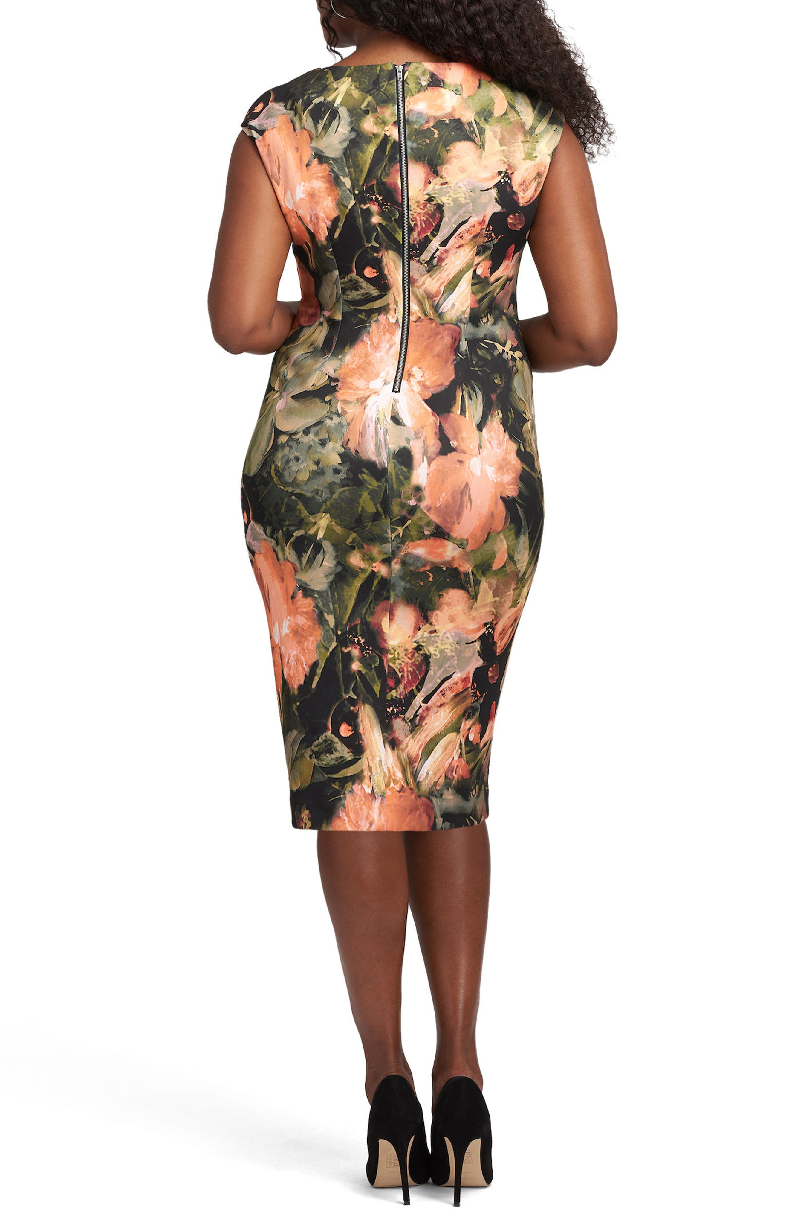 Tie Neck Scuba Sheath Dress,                             Alternate thumbnail 2, color,                             653