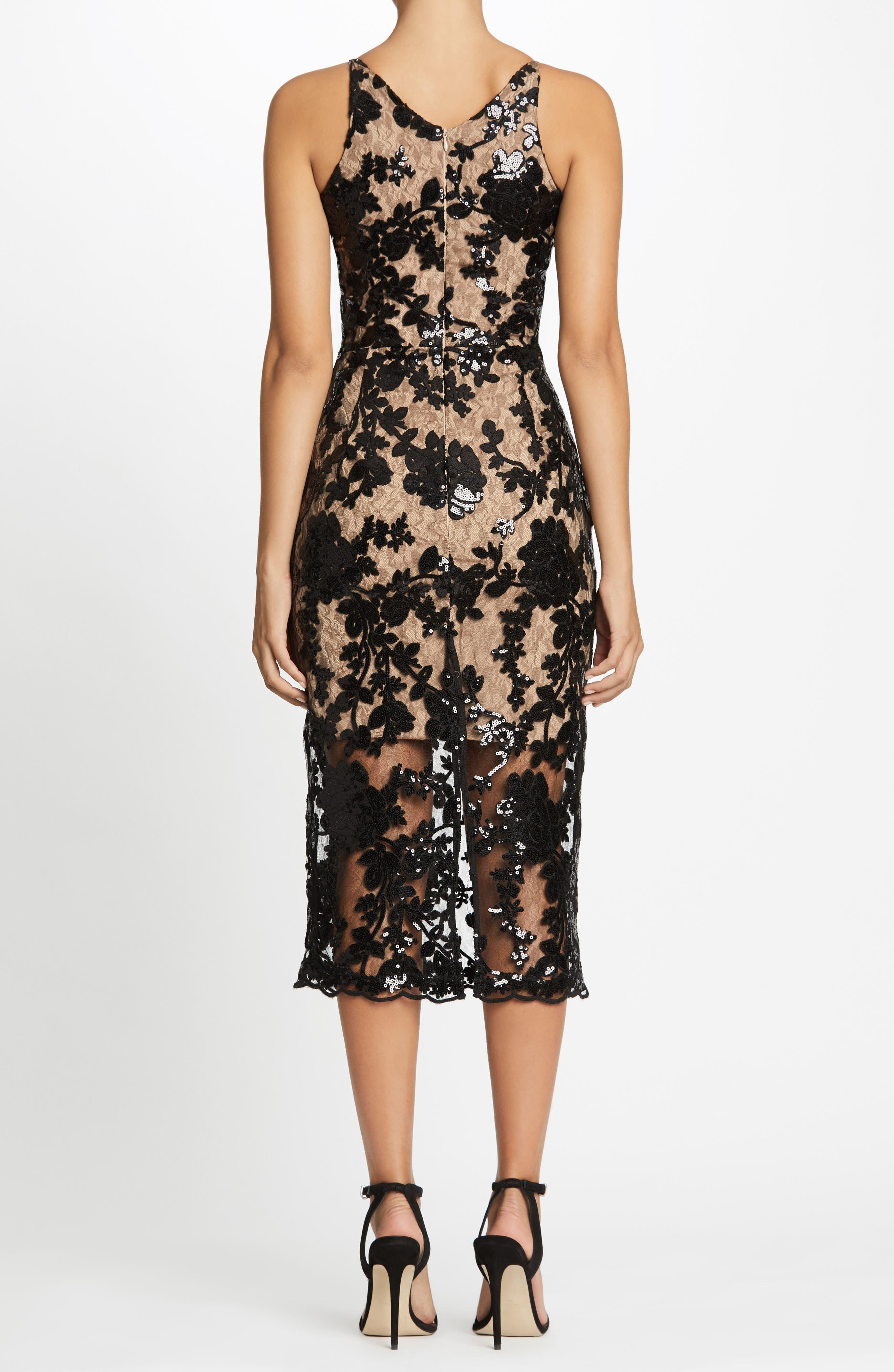Rebecca Floral Lace Midi Dress,                             Alternate thumbnail 2, color,                             002