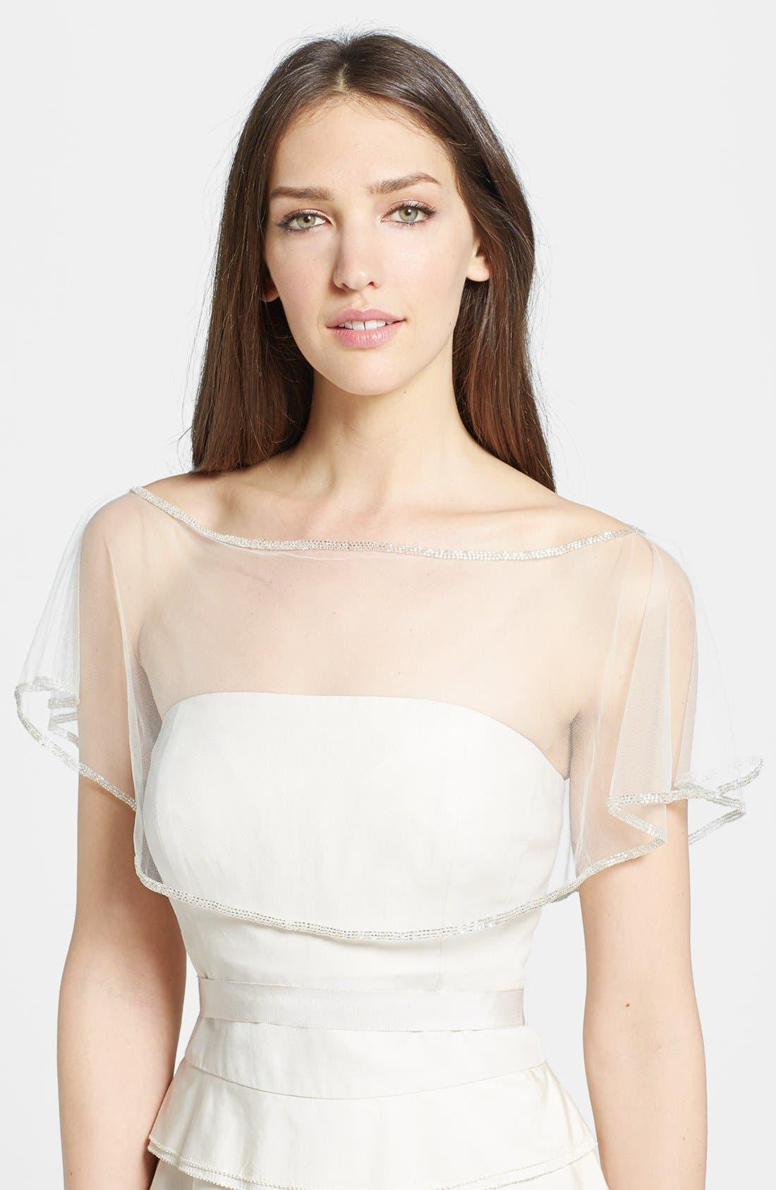 WEDDING BELLES NEW YORK Beaded Capelet, Main, color, 040