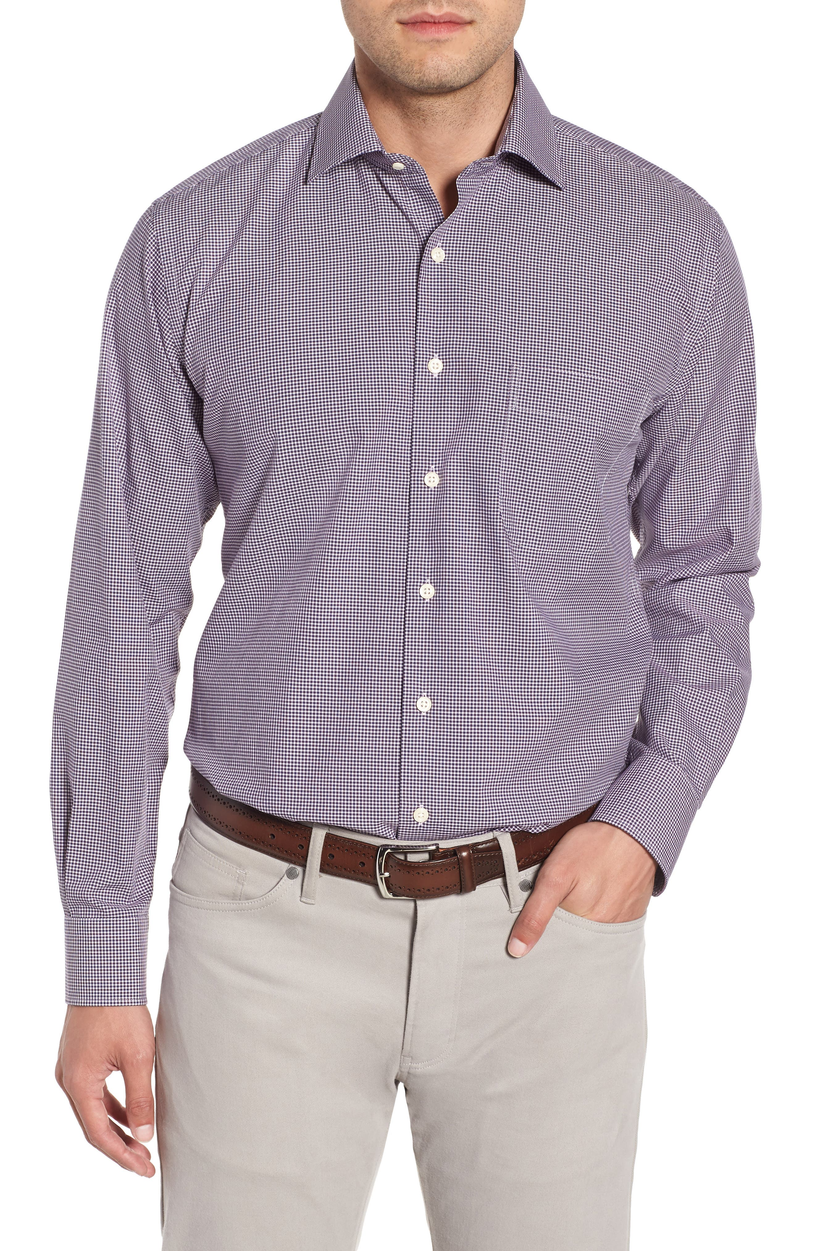 Crown Finish Wedgwood Microcheck Sport Shirt,                         Main,                         color, 410