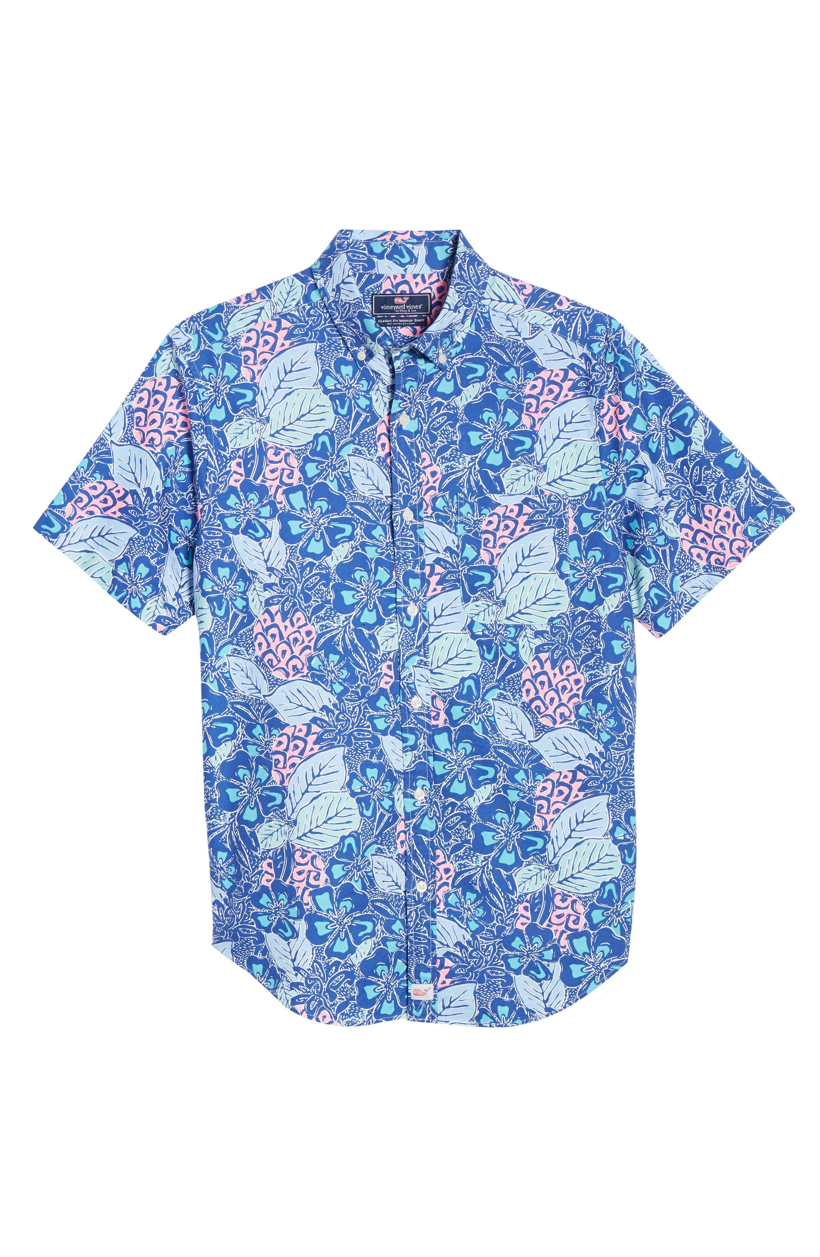 VINEYARD VINES,                             Murray Slim Fit Pineapple Print Sport Shirt,                             Alternate thumbnail 5, color,                             ROYAL OCEAN