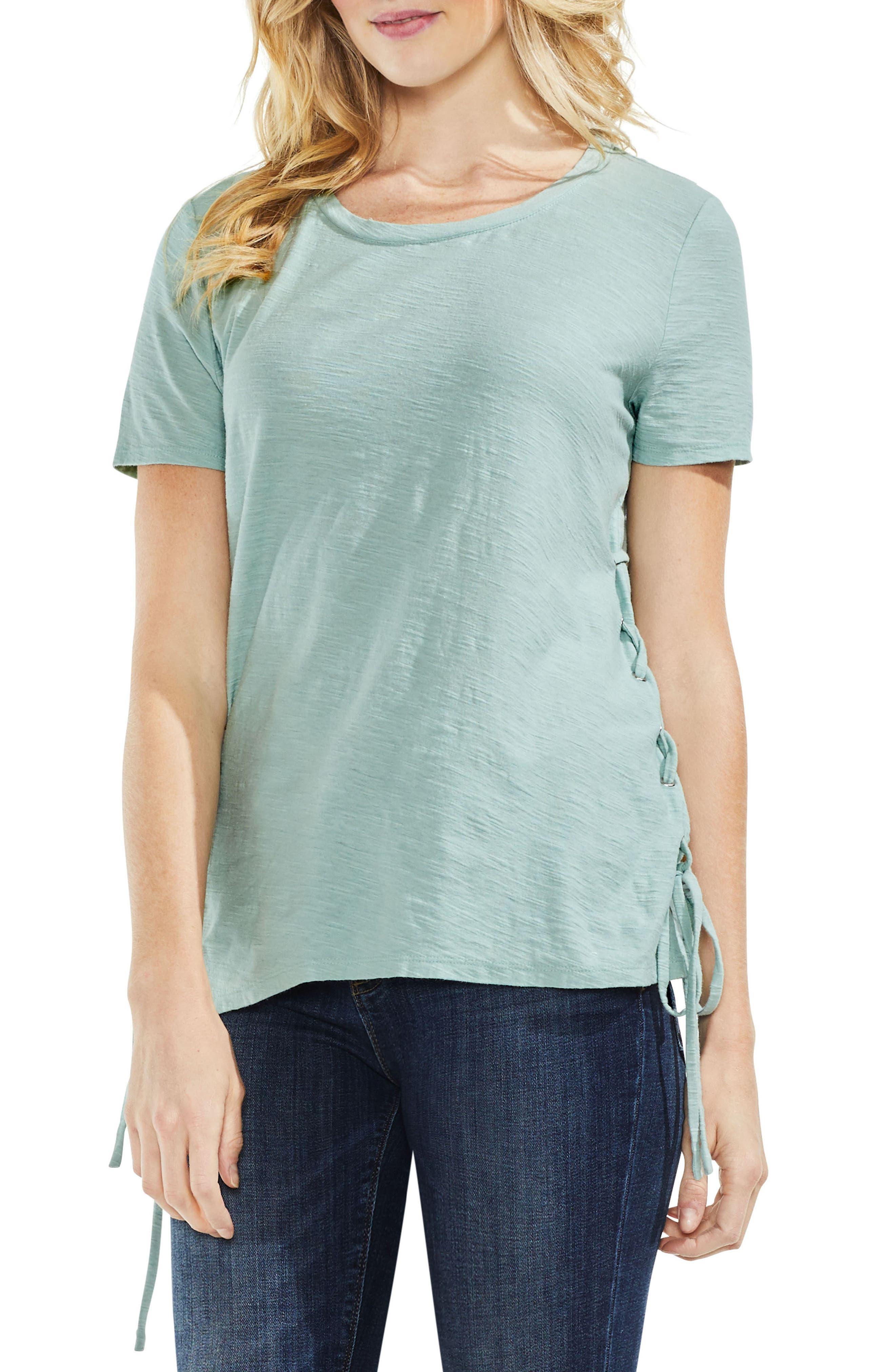 Side Lace-Up Cotton Slub Top,                             Main thumbnail 4, color,