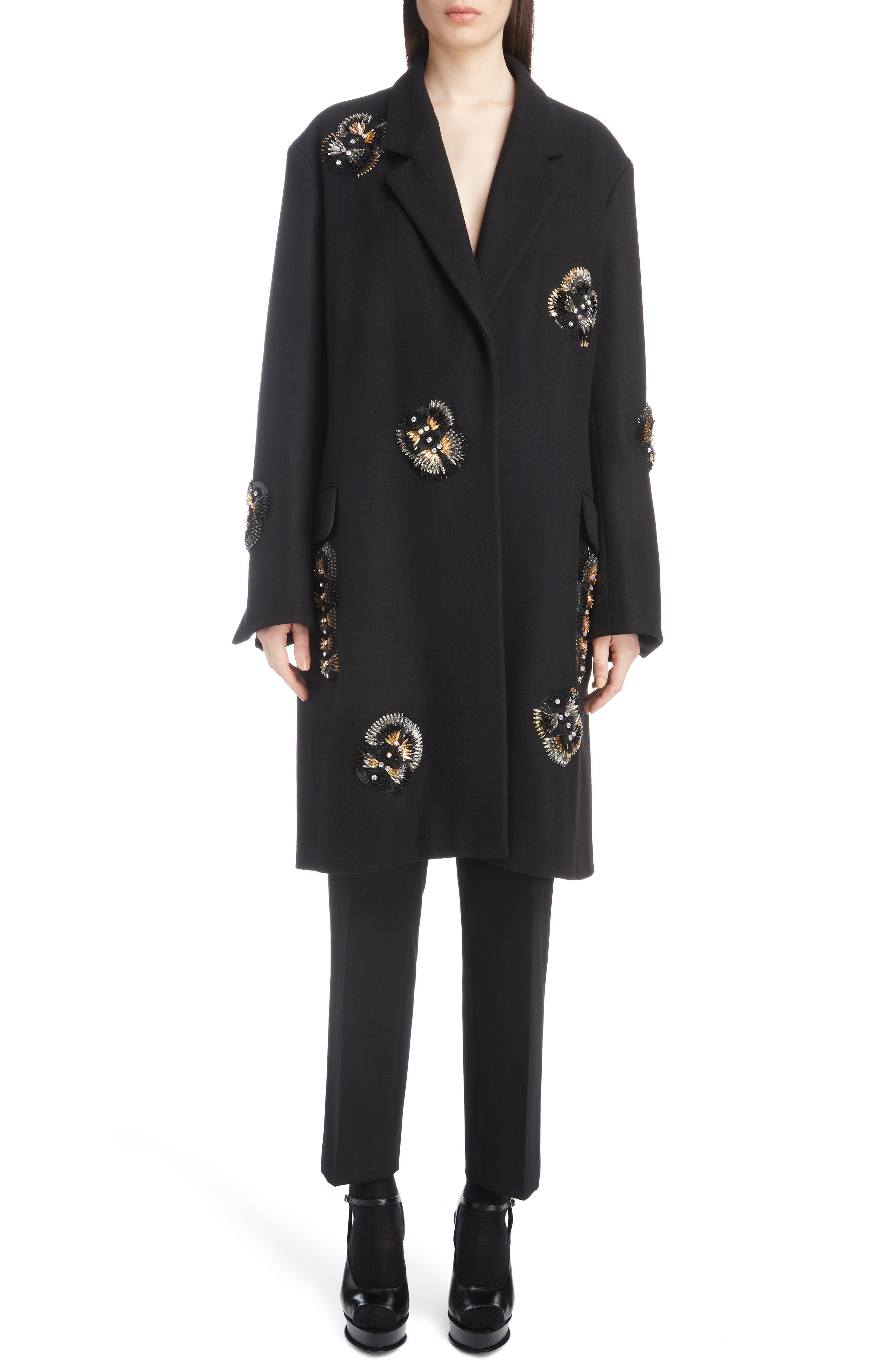 Embellished Wool Blend Coat,                             Alternate thumbnail 6, color,                             BLACK