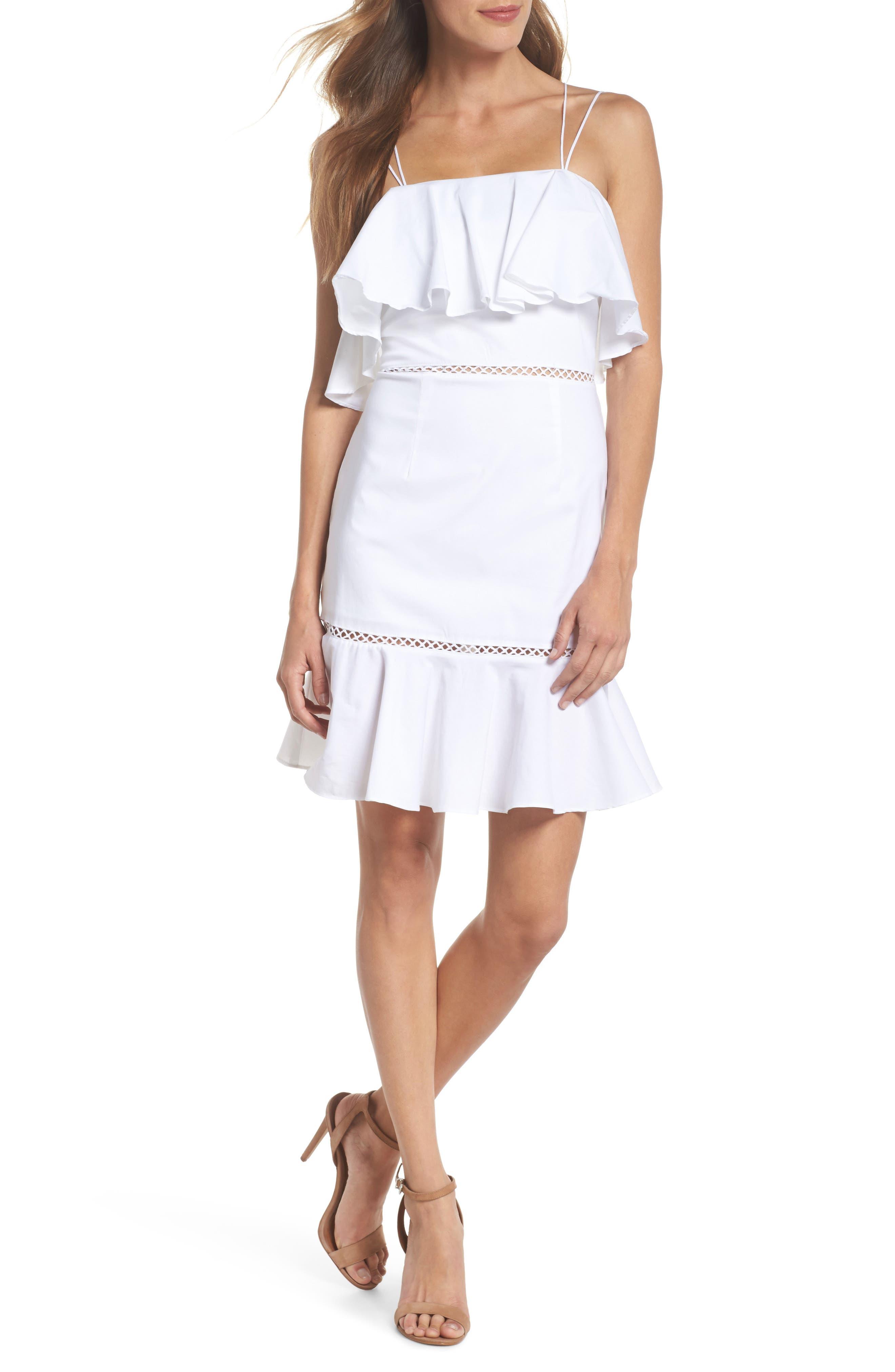 Lola Poplin Ruffle Dress,                         Main,                         color, 100