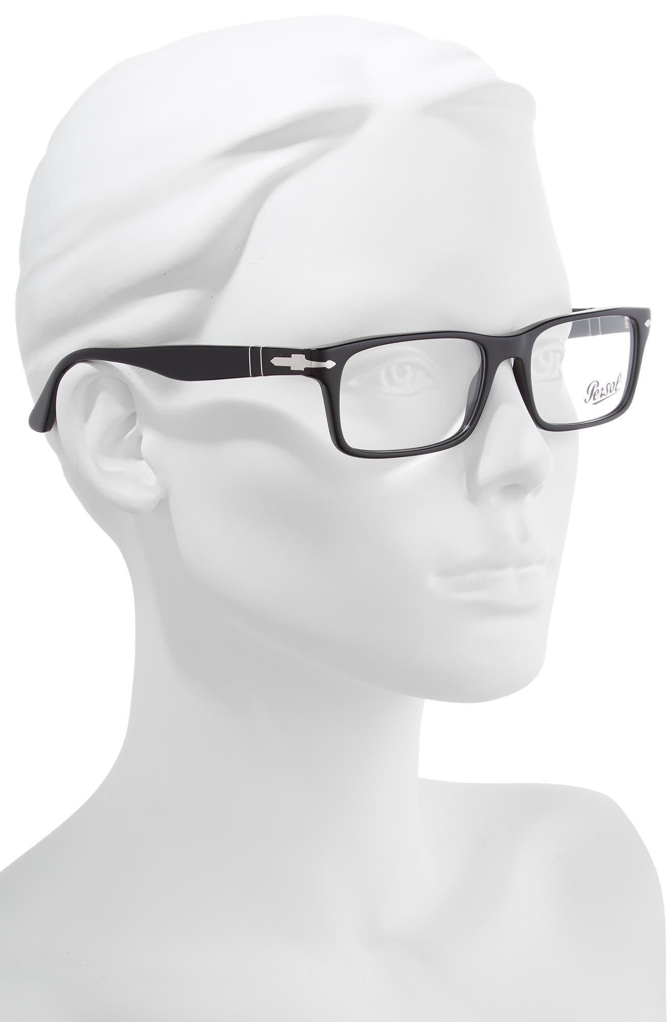 55mm Rectangle Optical Glasses,                             Alternate thumbnail 2, color,                             BLACK
