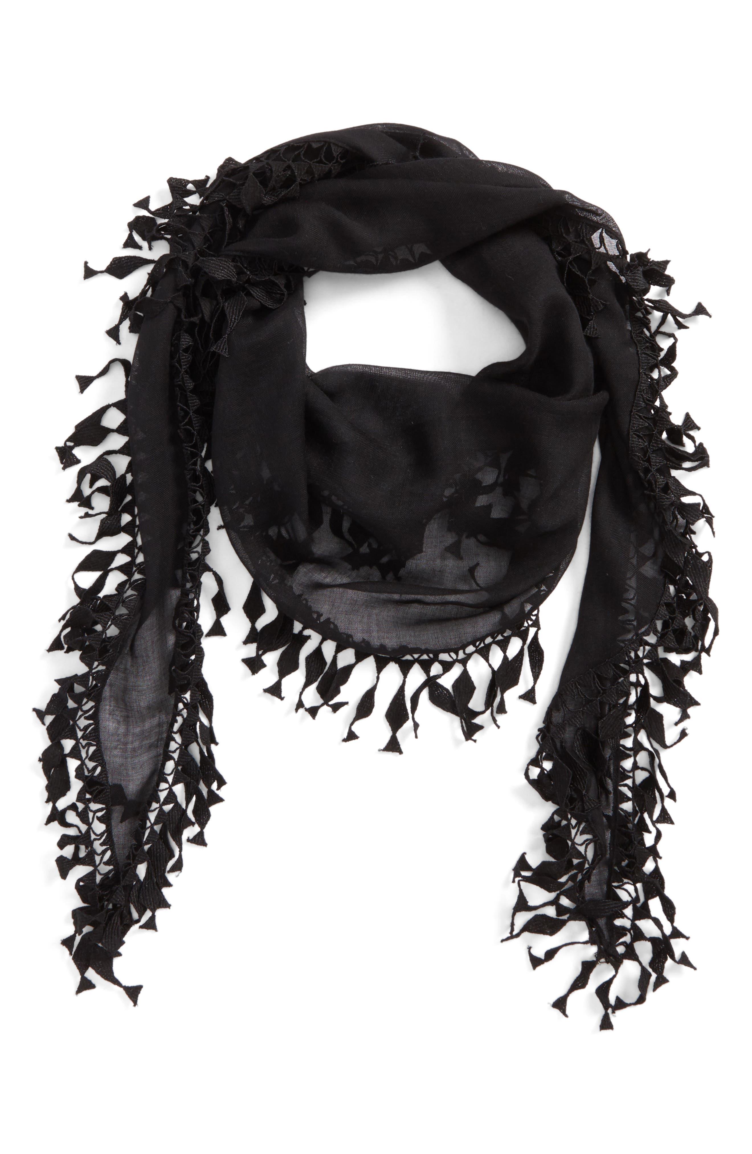Fringed Cashmere & Silk Scarf,                         Main,                         color, BLACK