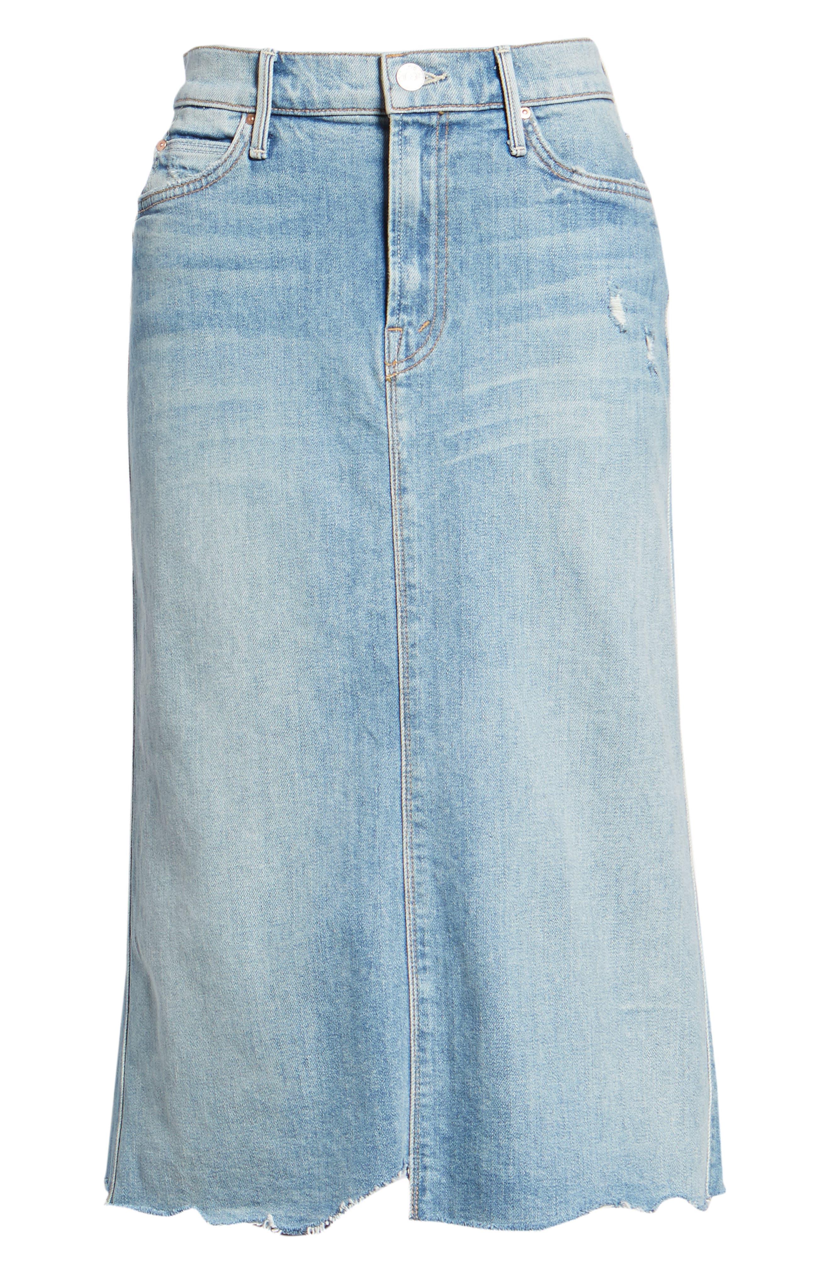 Swooner Straight-A Chewed Hem Denim Skirt,                             Alternate thumbnail 7, color,                             450