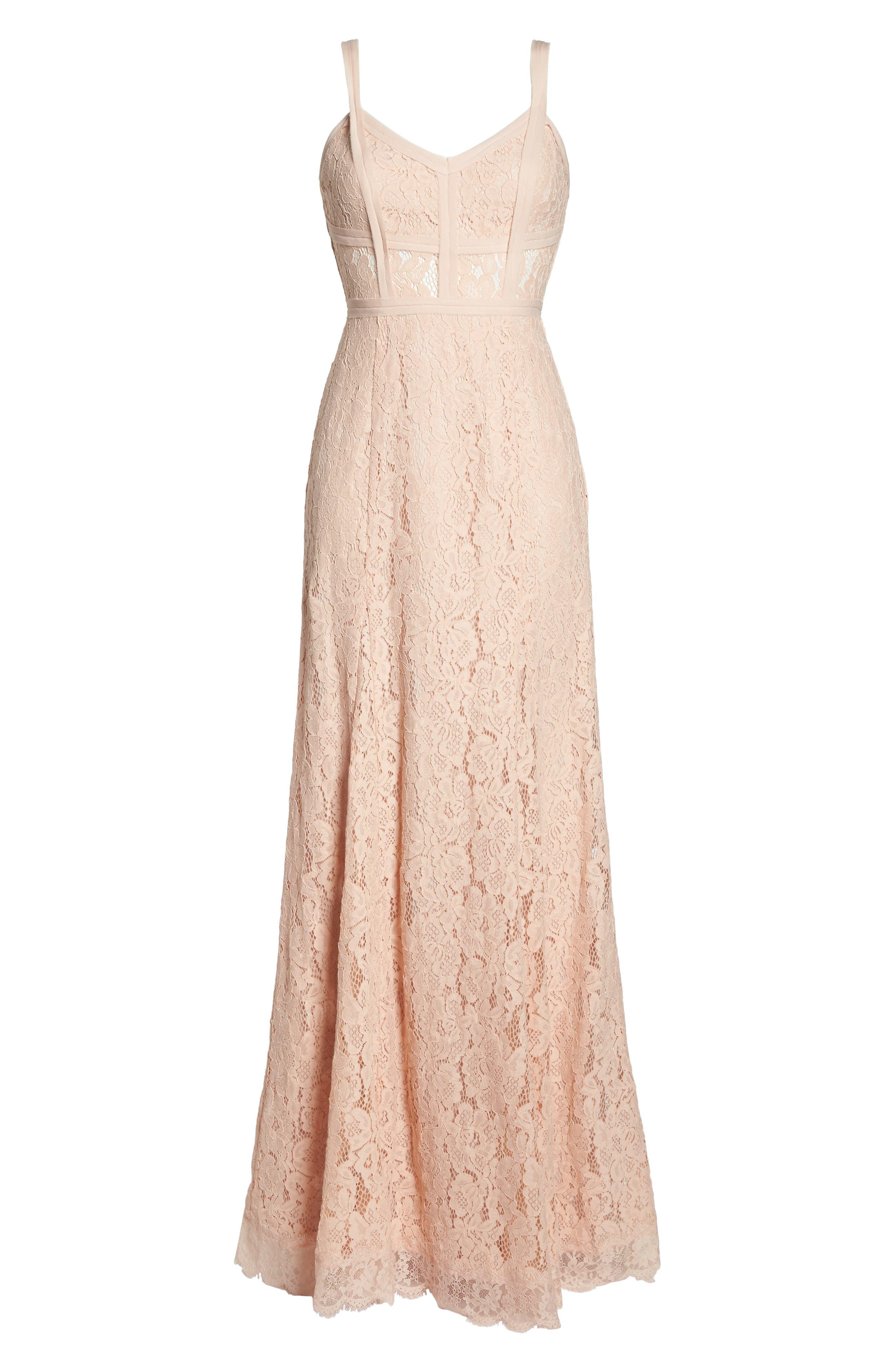 Esti Bustier Bodice Lace Gown,                             Alternate thumbnail 7, color,                             BLUSH