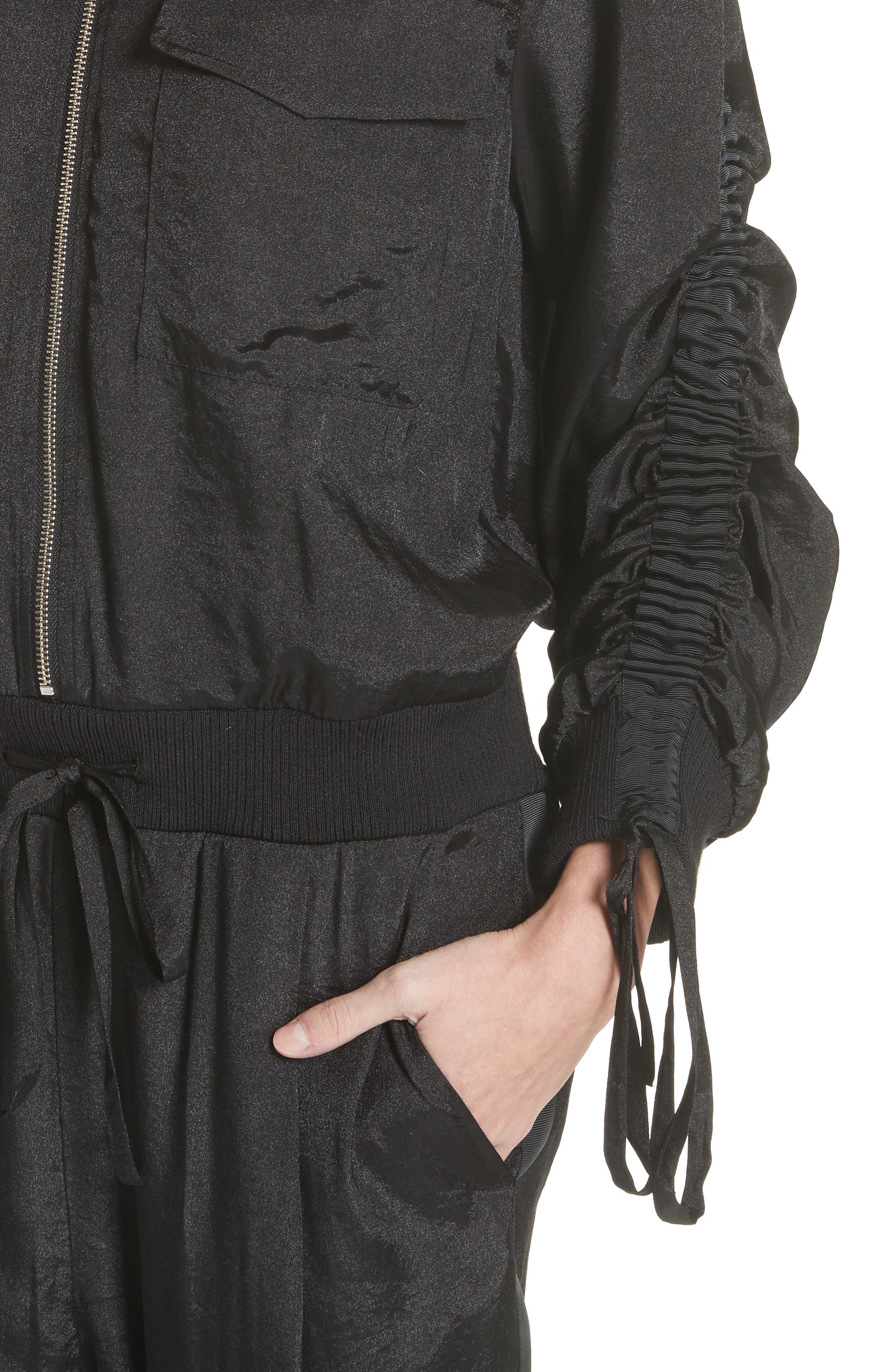 Drawstring Sleeve Jumpsuit,                             Alternate thumbnail 4, color,