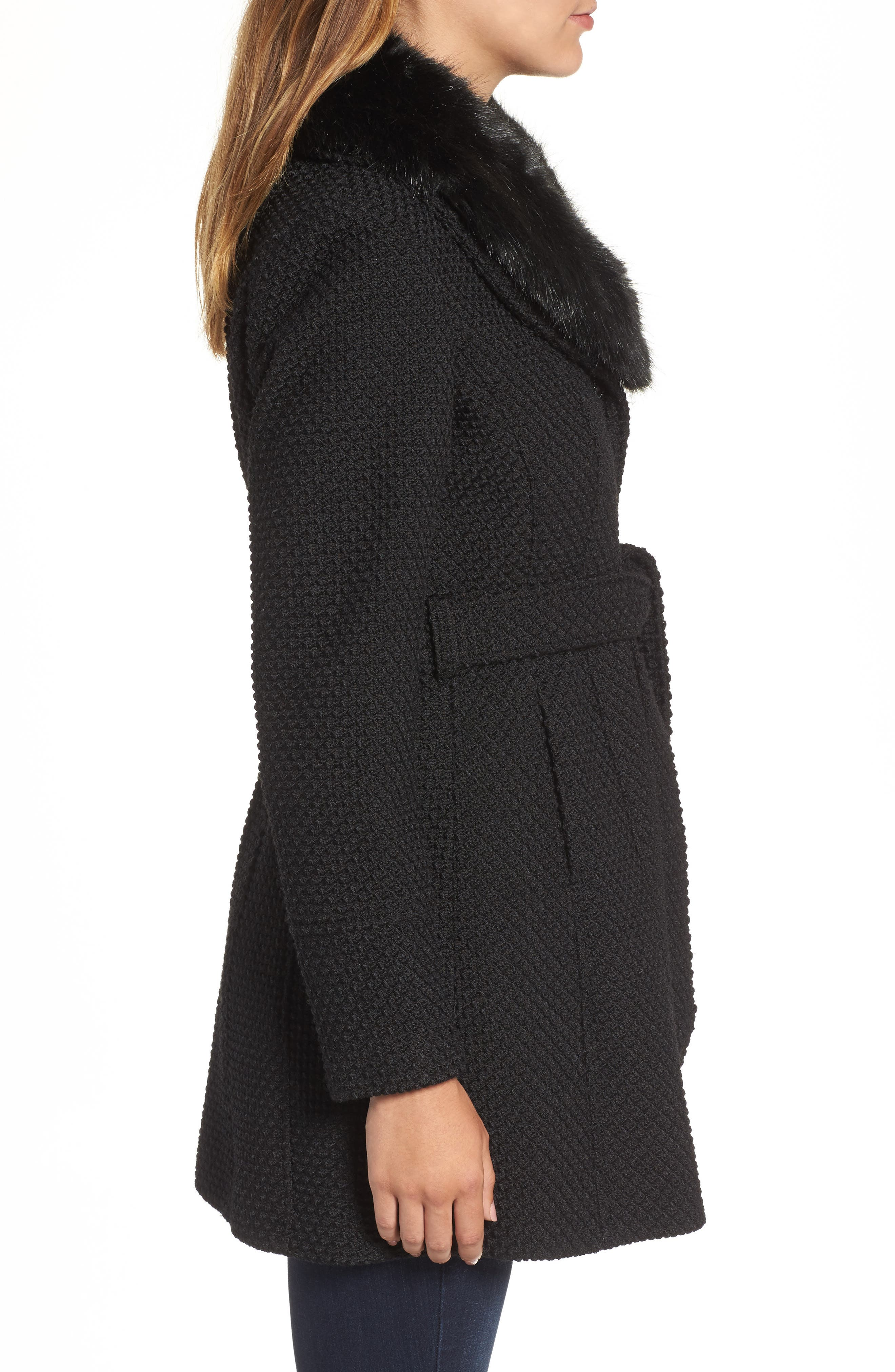 Belted Coat with Faux Fur Collar,                             Alternate thumbnail 3, color,                             001