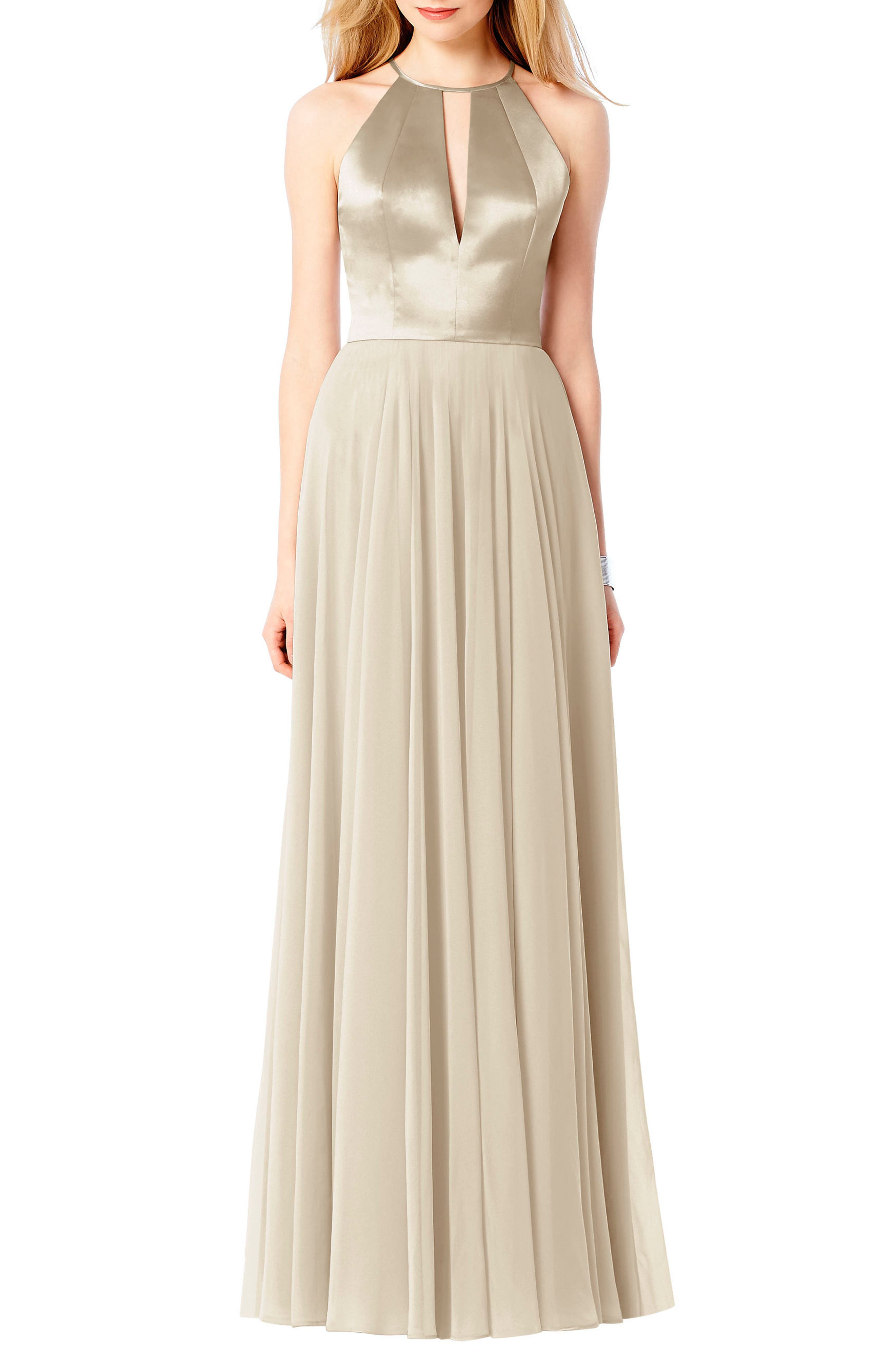 Satin & Chiffon Gown,                         Main,                         color, PALOMINO