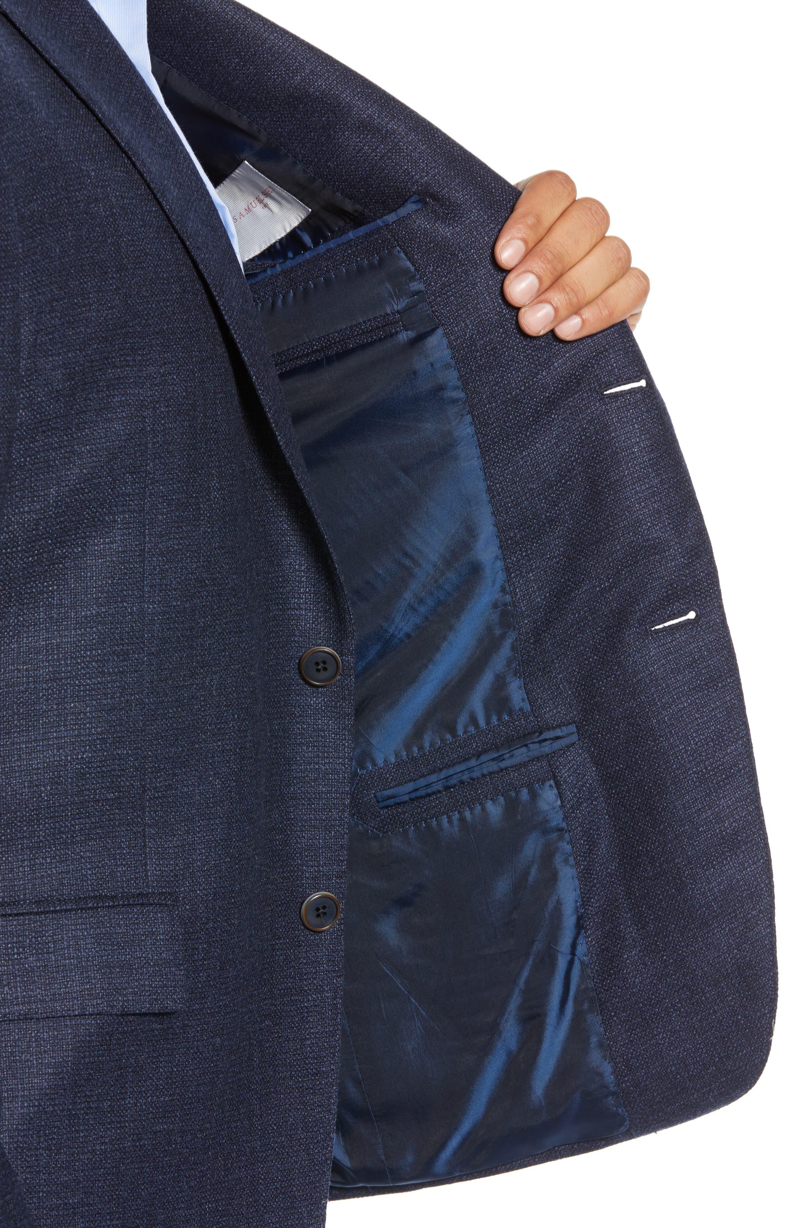 Classic Fit Wool Blend Blazer,                             Alternate thumbnail 4, color,                             NAVY