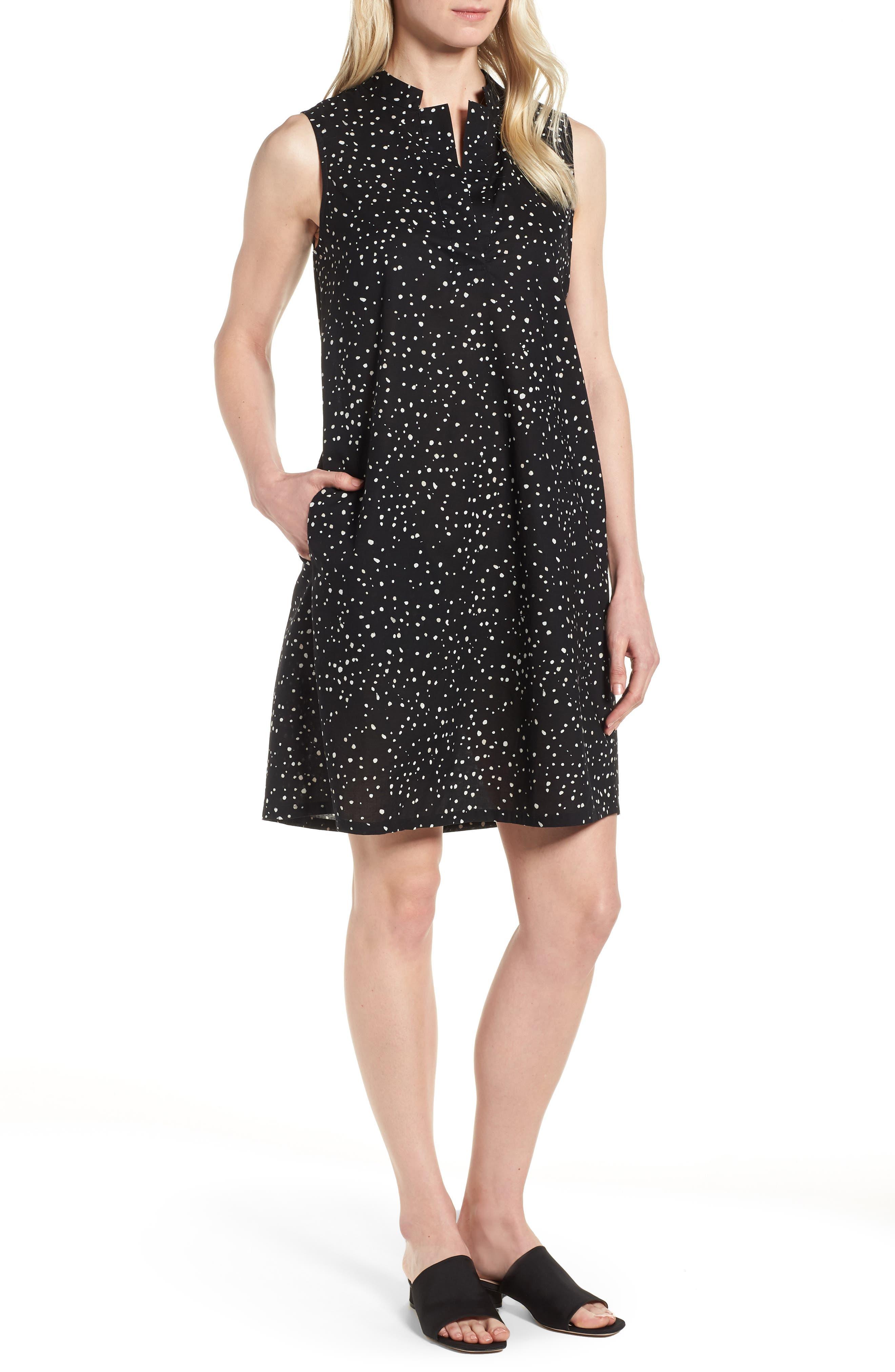 Dot Print Organic Cotton Shift Dress,                             Main thumbnail 1, color,                             001