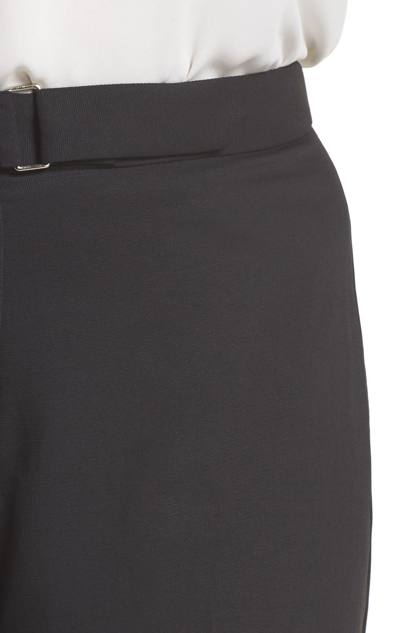 Elegant Belted Culottes,                             Alternate thumbnail 4, color,                             BLACK