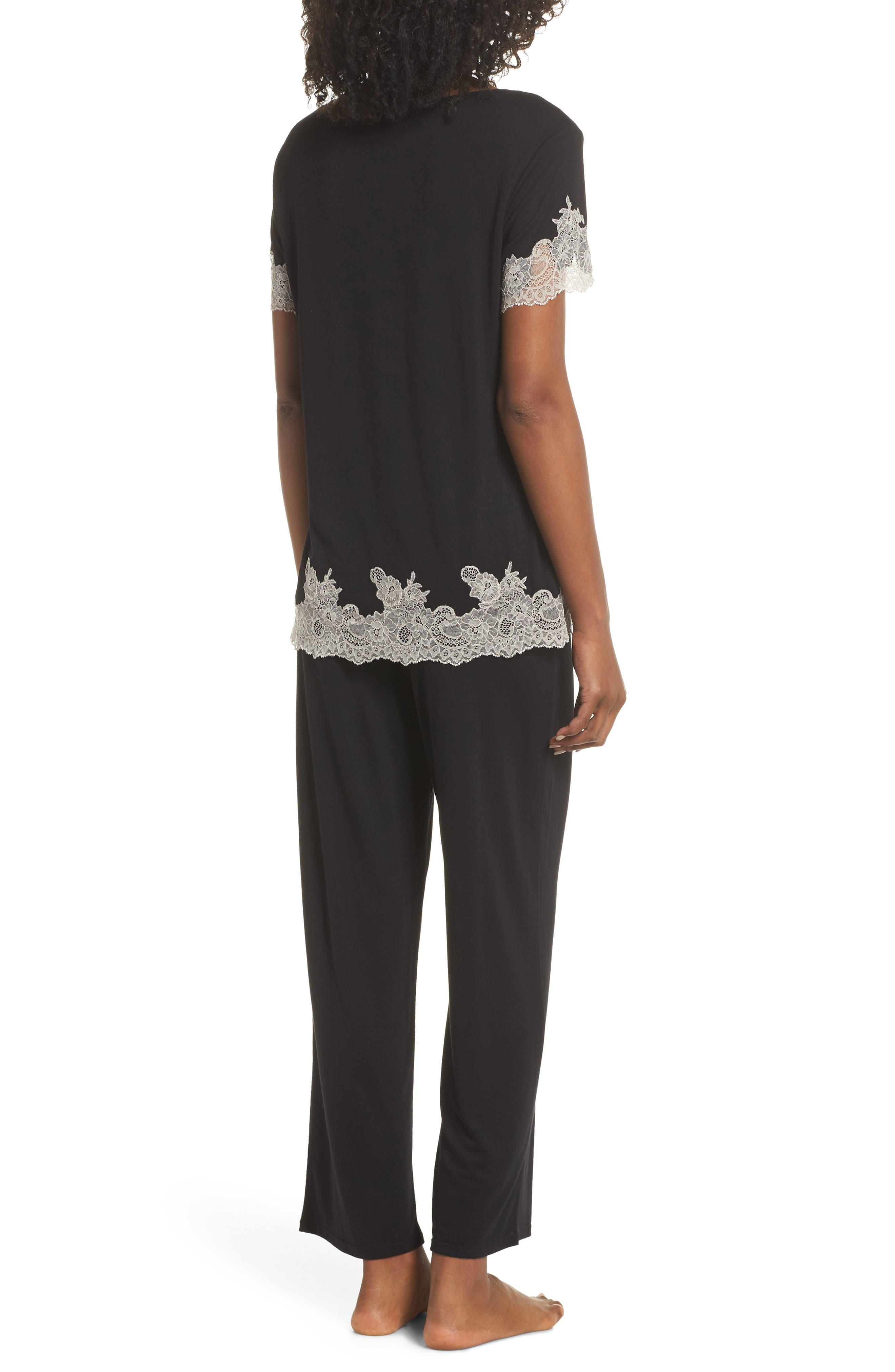 Luxe Shangri-La Pajamas,                             Alternate thumbnail 2, color,                             BLACK/ COCOON