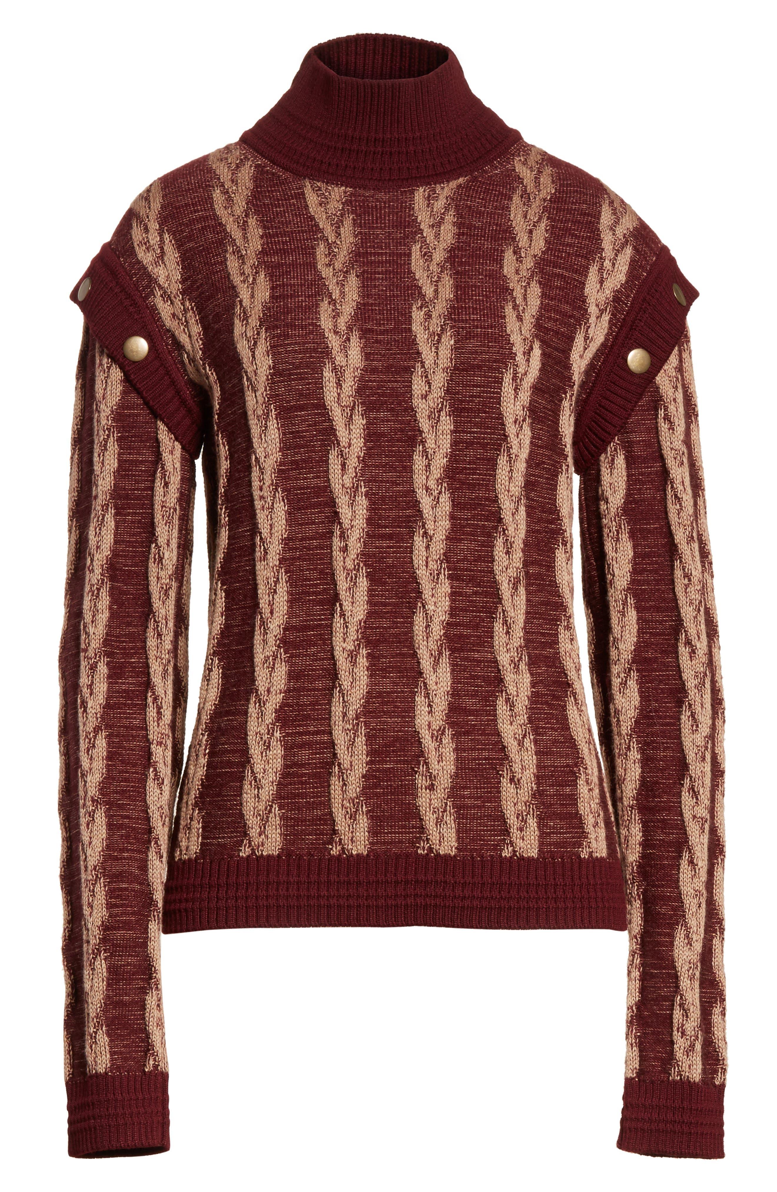 Cable Knit Turtleneck Sweater,                             Alternate thumbnail 6, color,                             930