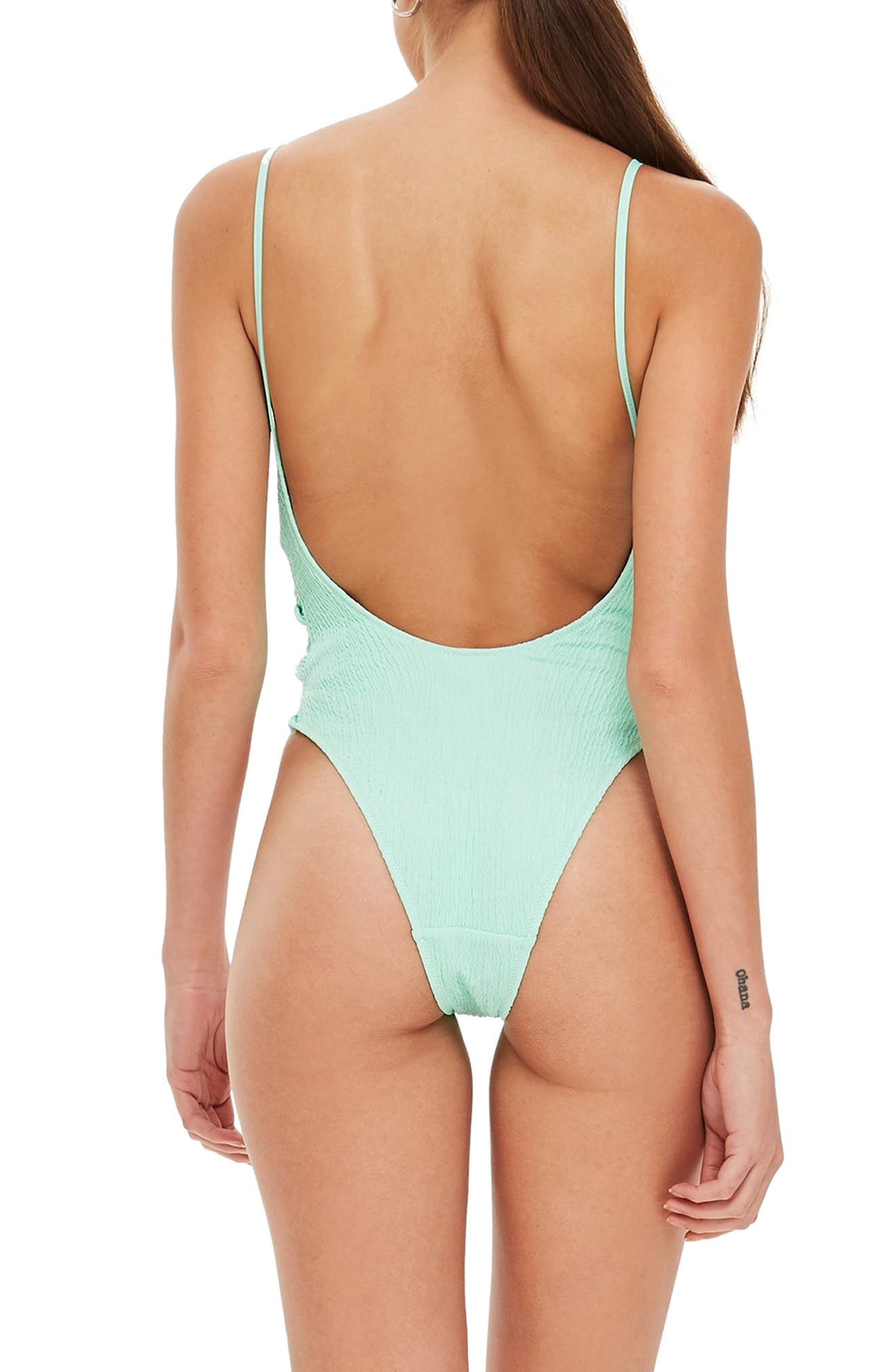 Twist Side Swimsuit,                             Alternate thumbnail 2, color,                             BRIGHT GREEN