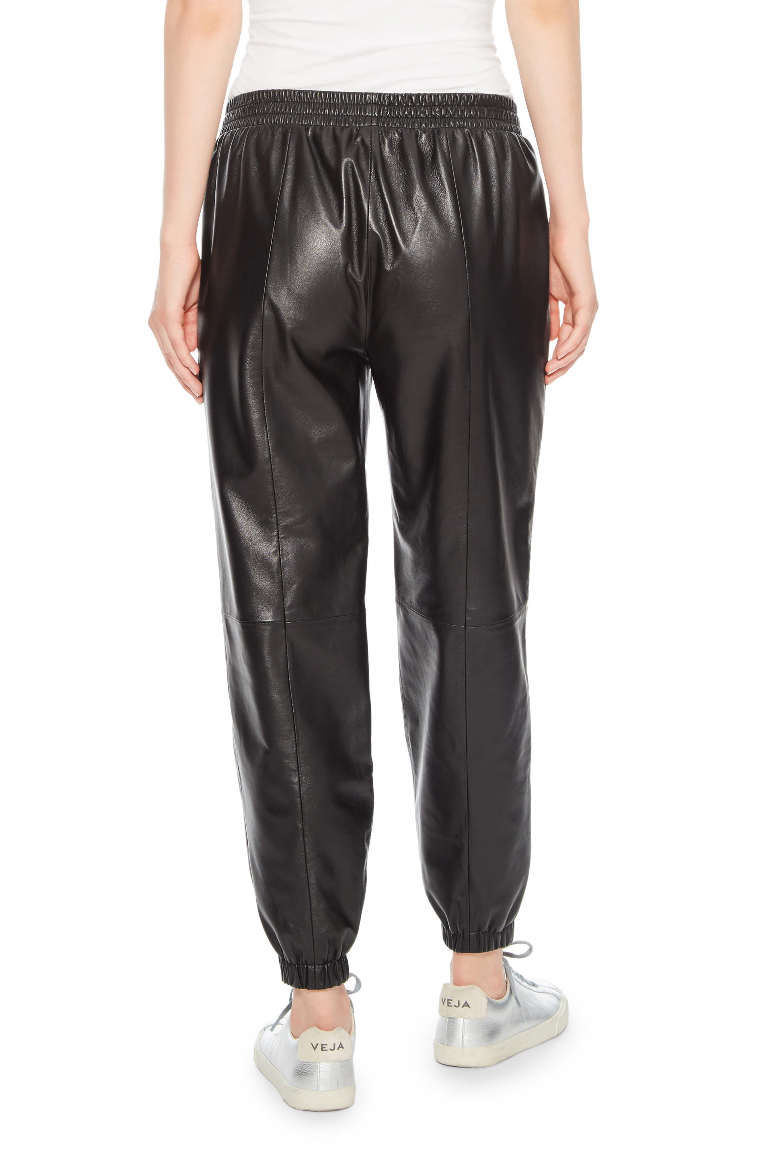 Eavan Leather Jogger Pants,                             Alternate thumbnail 2, color,                             001