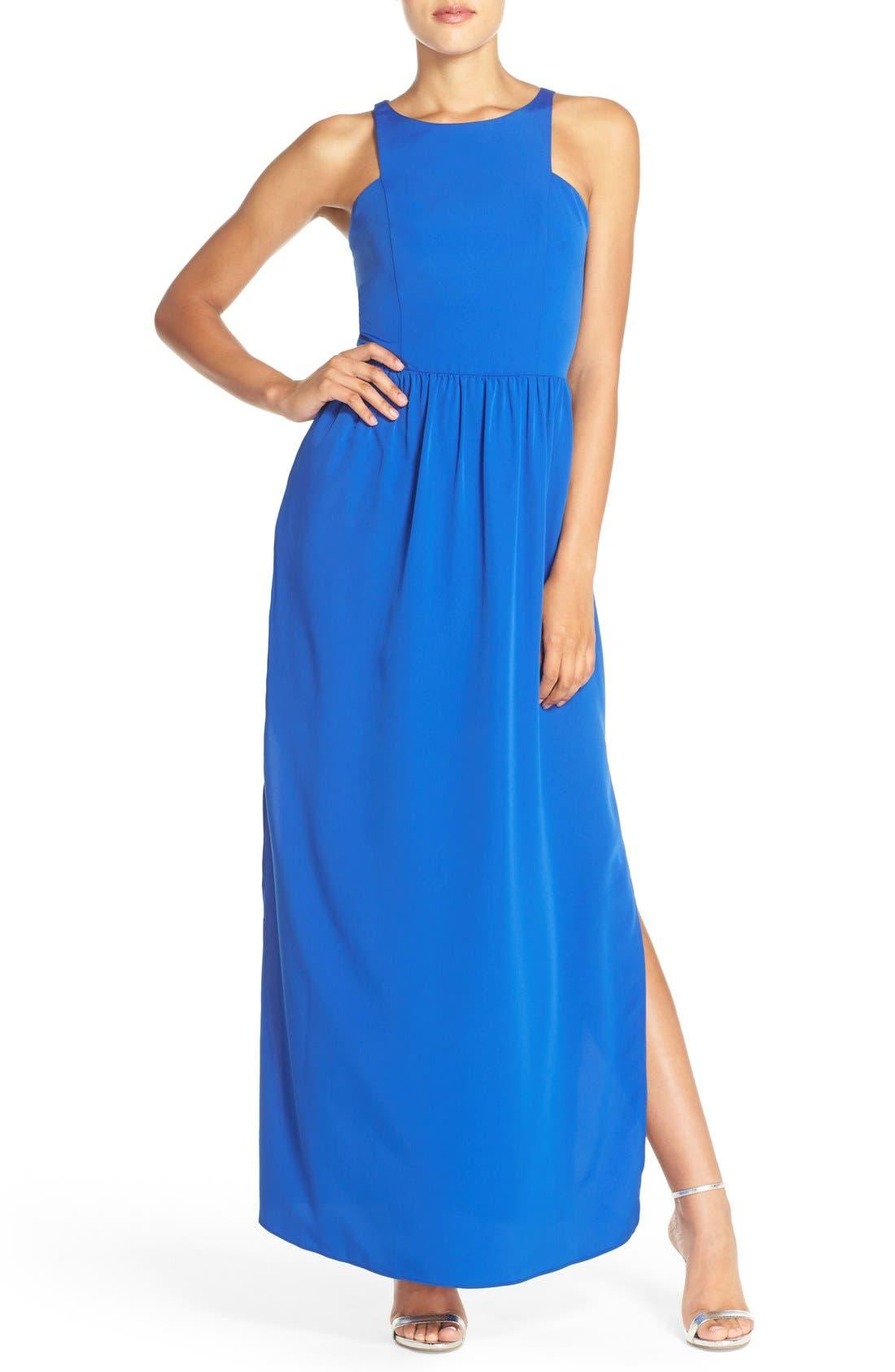 Cutaway Shoulder Maxi Dress,                             Main thumbnail 1, color,                             401
