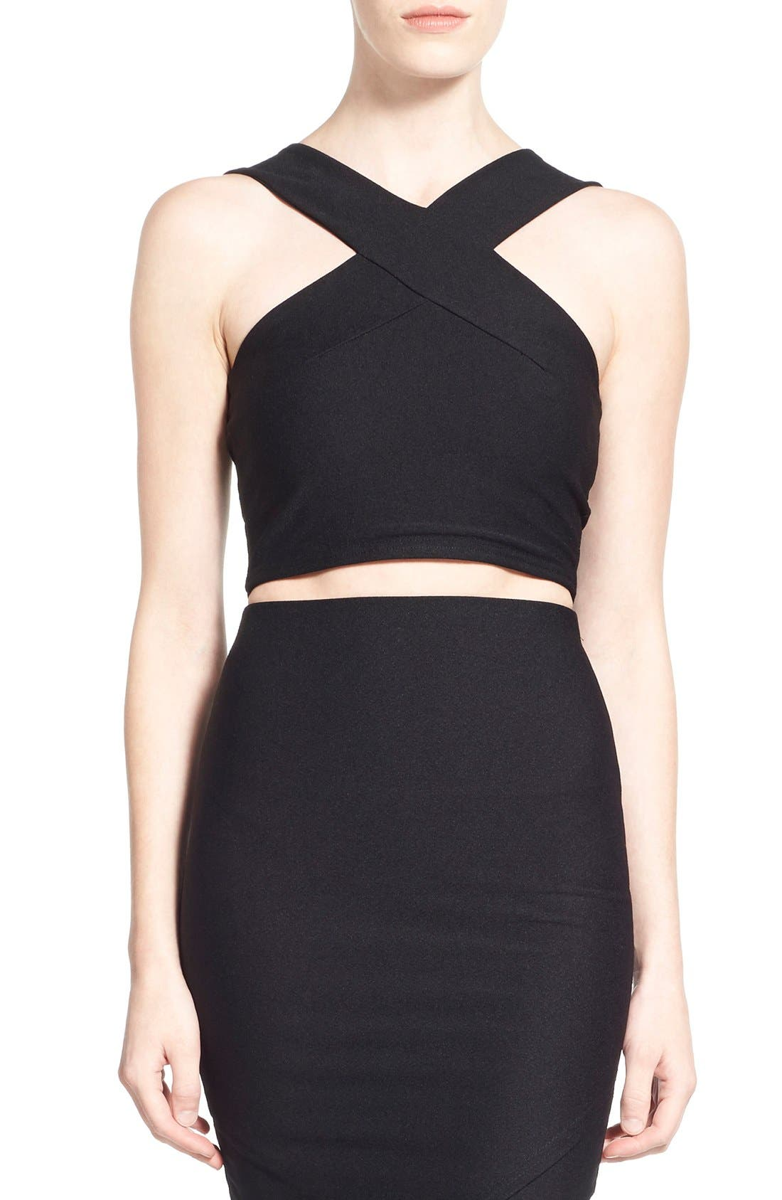 MISSGUIDED,                             Cross Strap Crop Top,                             Main thumbnail 1, color,                             001