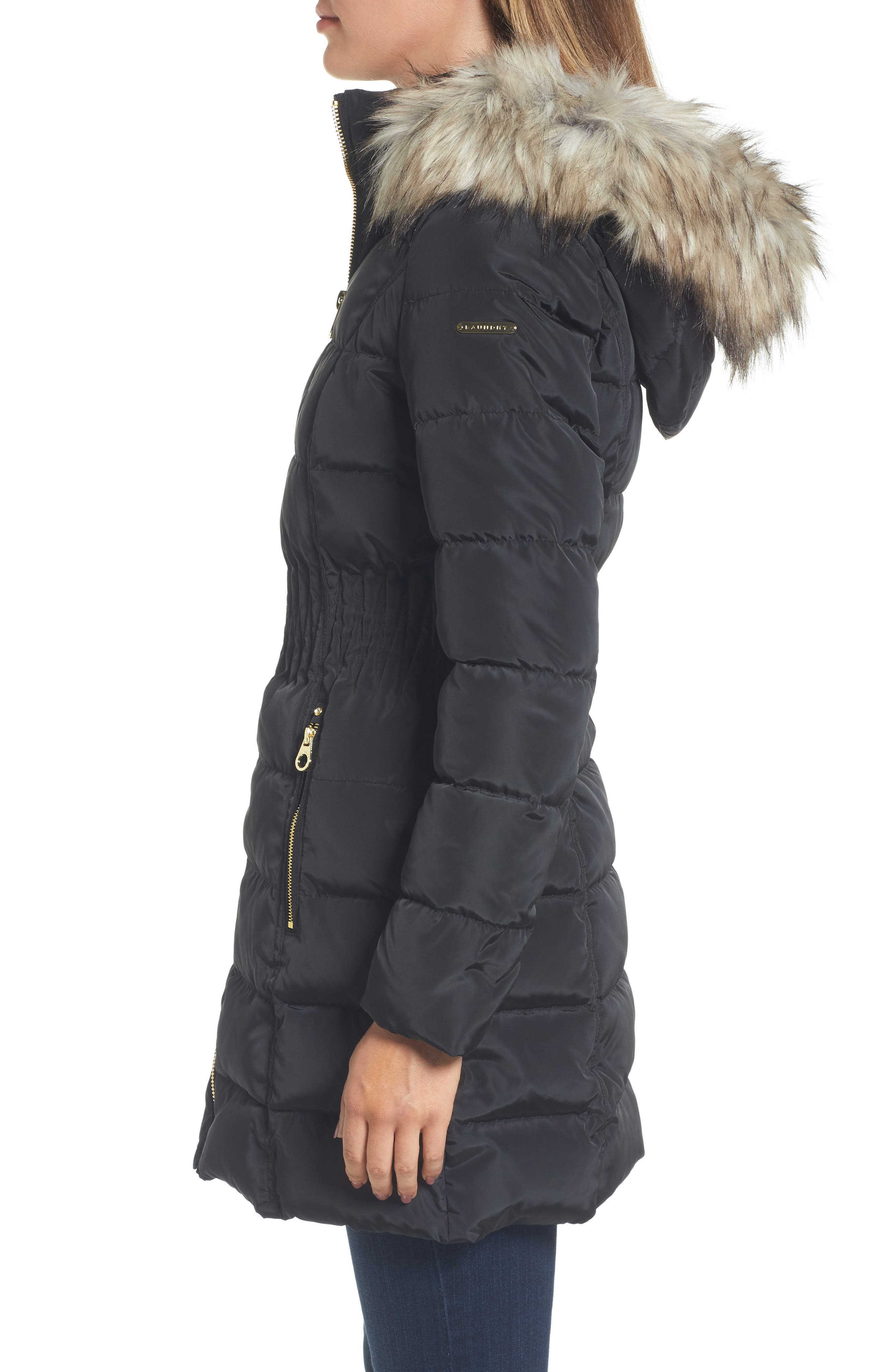 Hooded Quilted Jacket with Faux Fur Trim,                             Alternate thumbnail 3, color,                             001