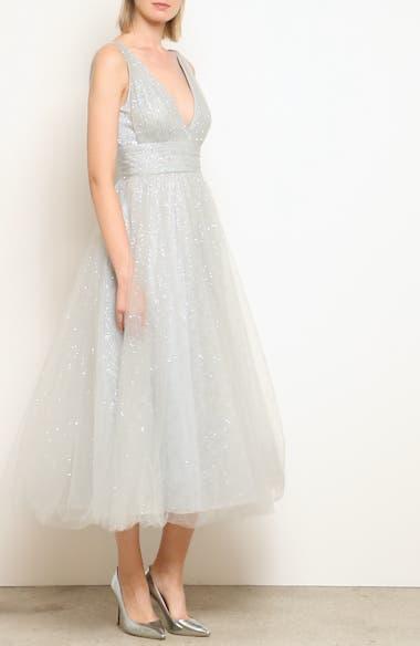 Glitter Tulle Tea Length Dress, video thumbnail