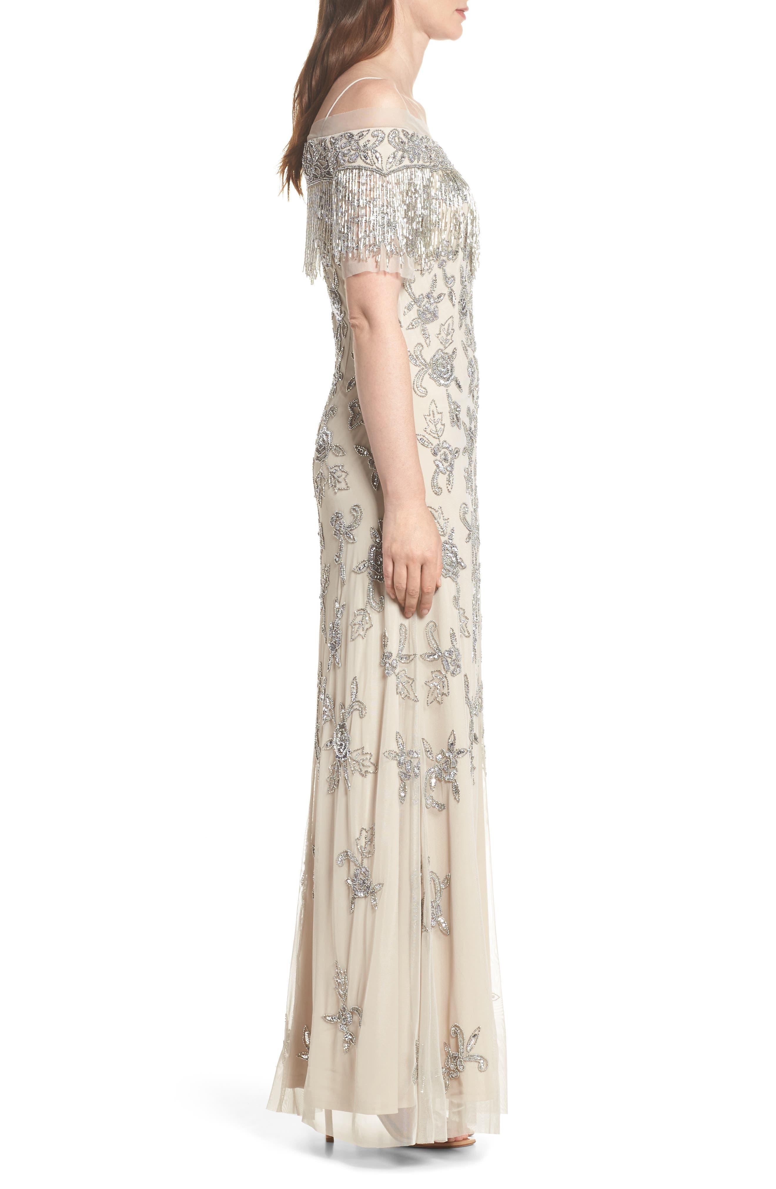 Fringe Bead Cold Shoulder Gown,                             Alternate thumbnail 3, color,