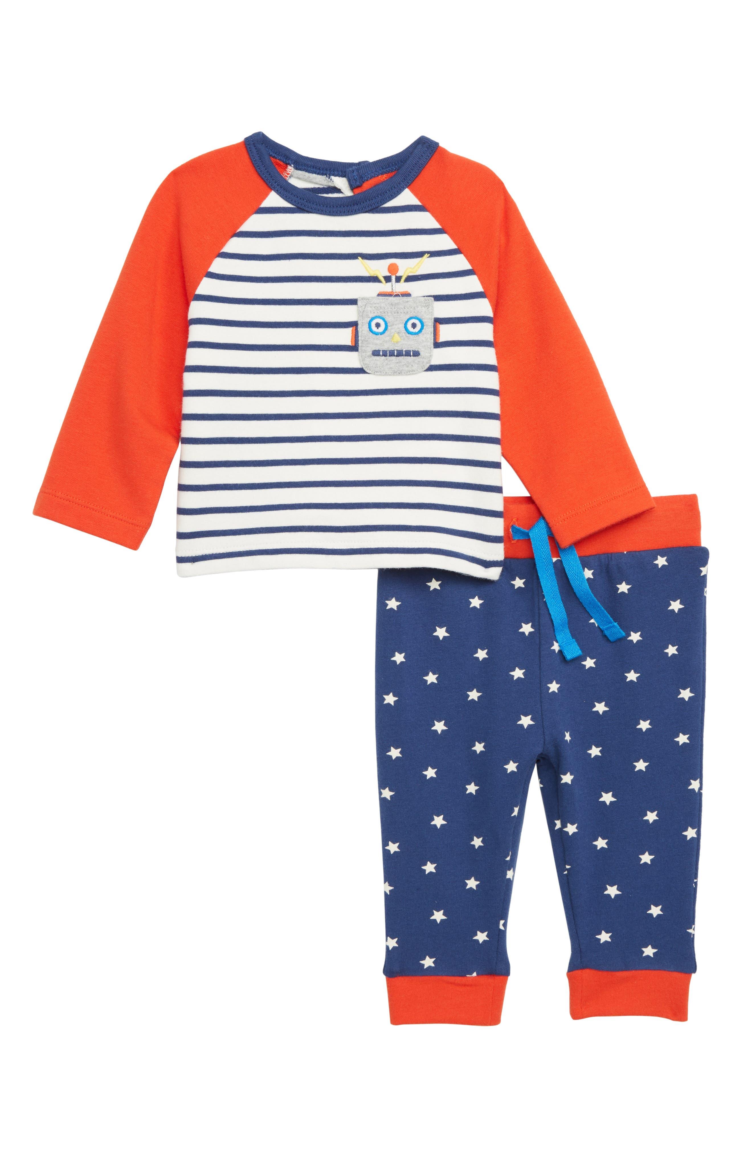 Infant Boys Mini Boden Robot Applique Shirt  Pants Set