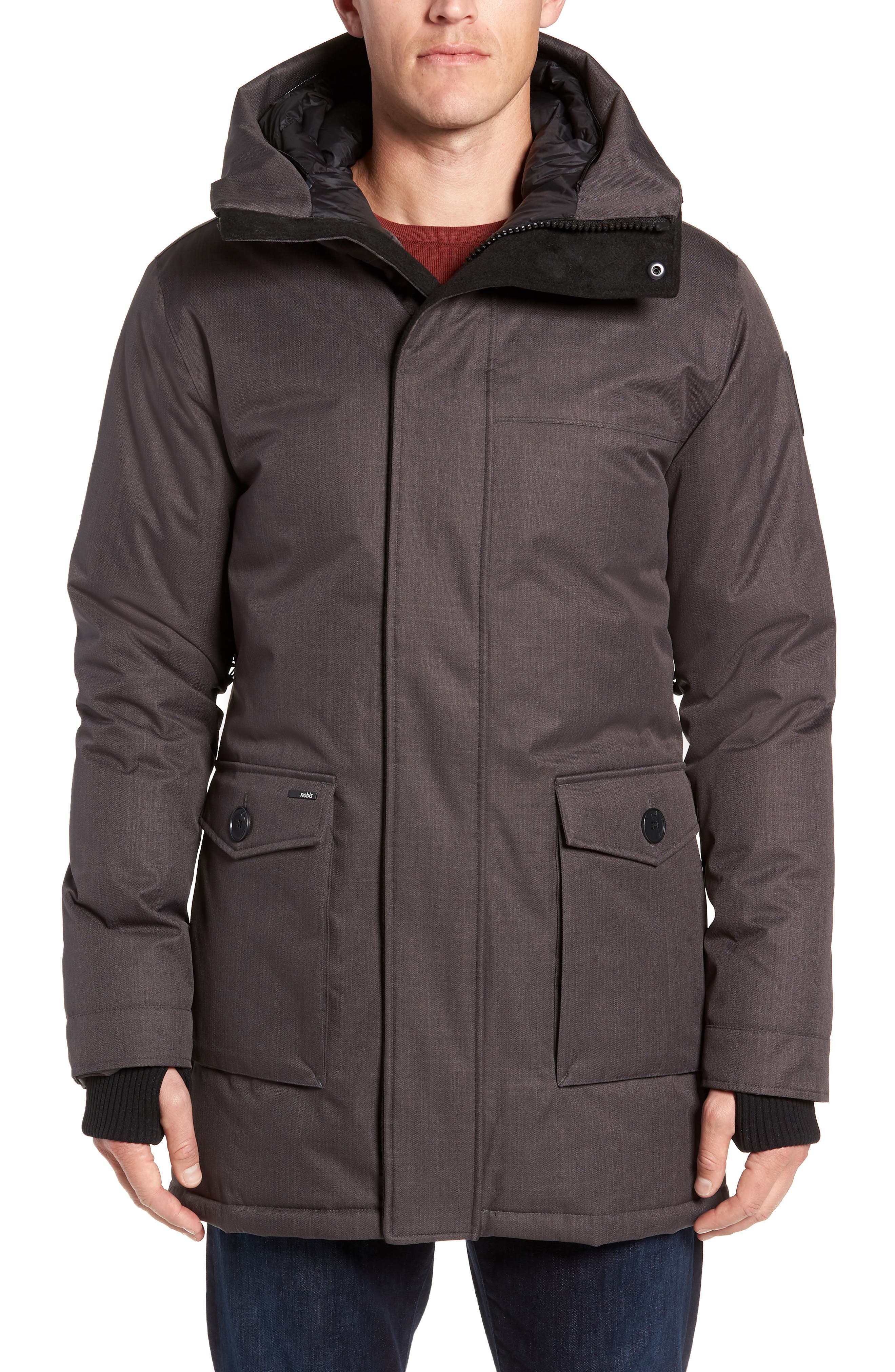 Yves Windproof & Waterproof 650 Fill Power Down Parka with Genuine Coyote Fur Trim,                             Alternate thumbnail 2, color,                             STEEL GREY