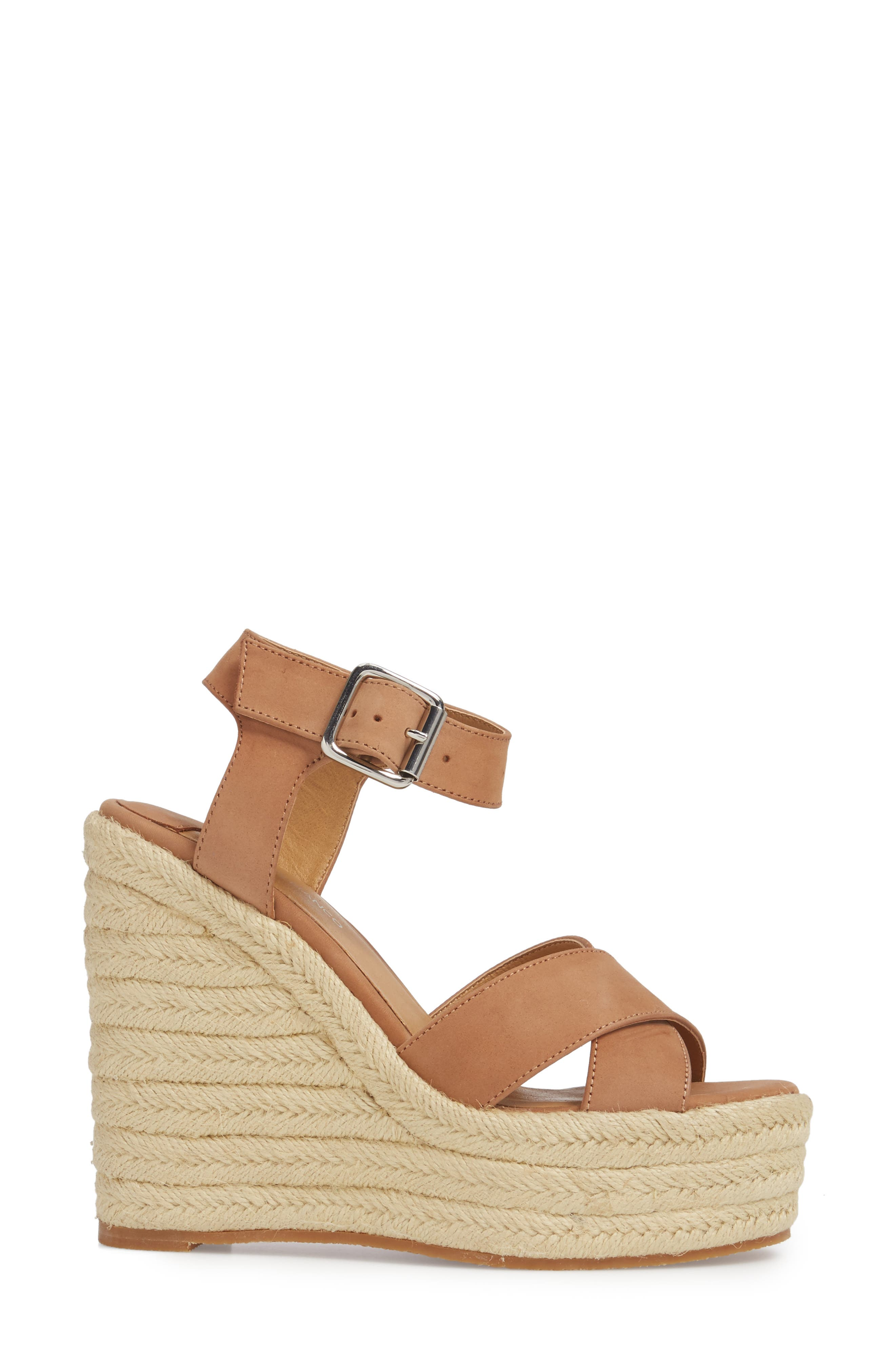 Boston Espadrille Wedge Sandal,                             Alternate thumbnail 3, color,                             CARAMEL PHOENIX LEATHER