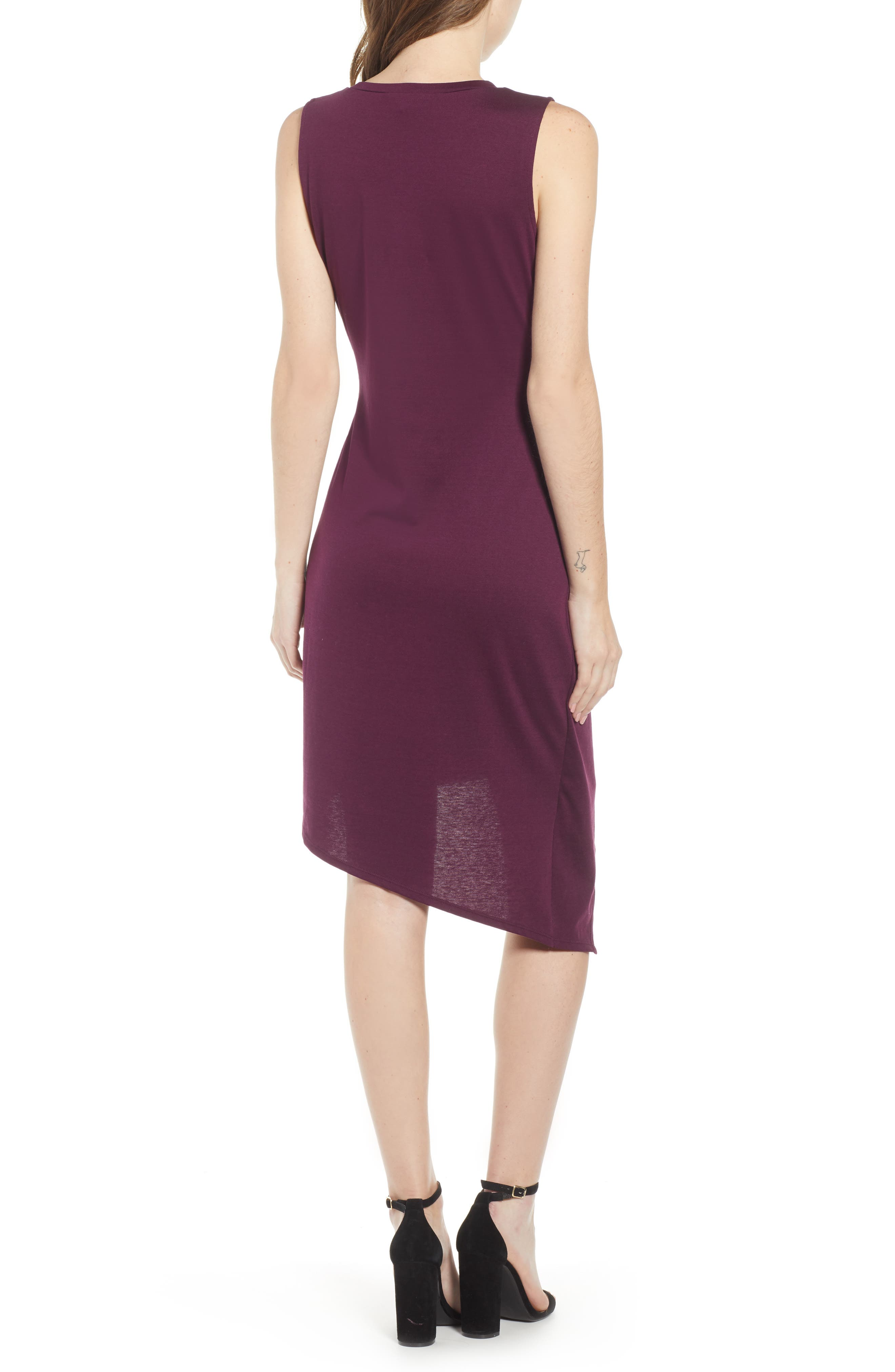 Twist Front Dress,                             Alternate thumbnail 2, color,                             PURPLE POTENT