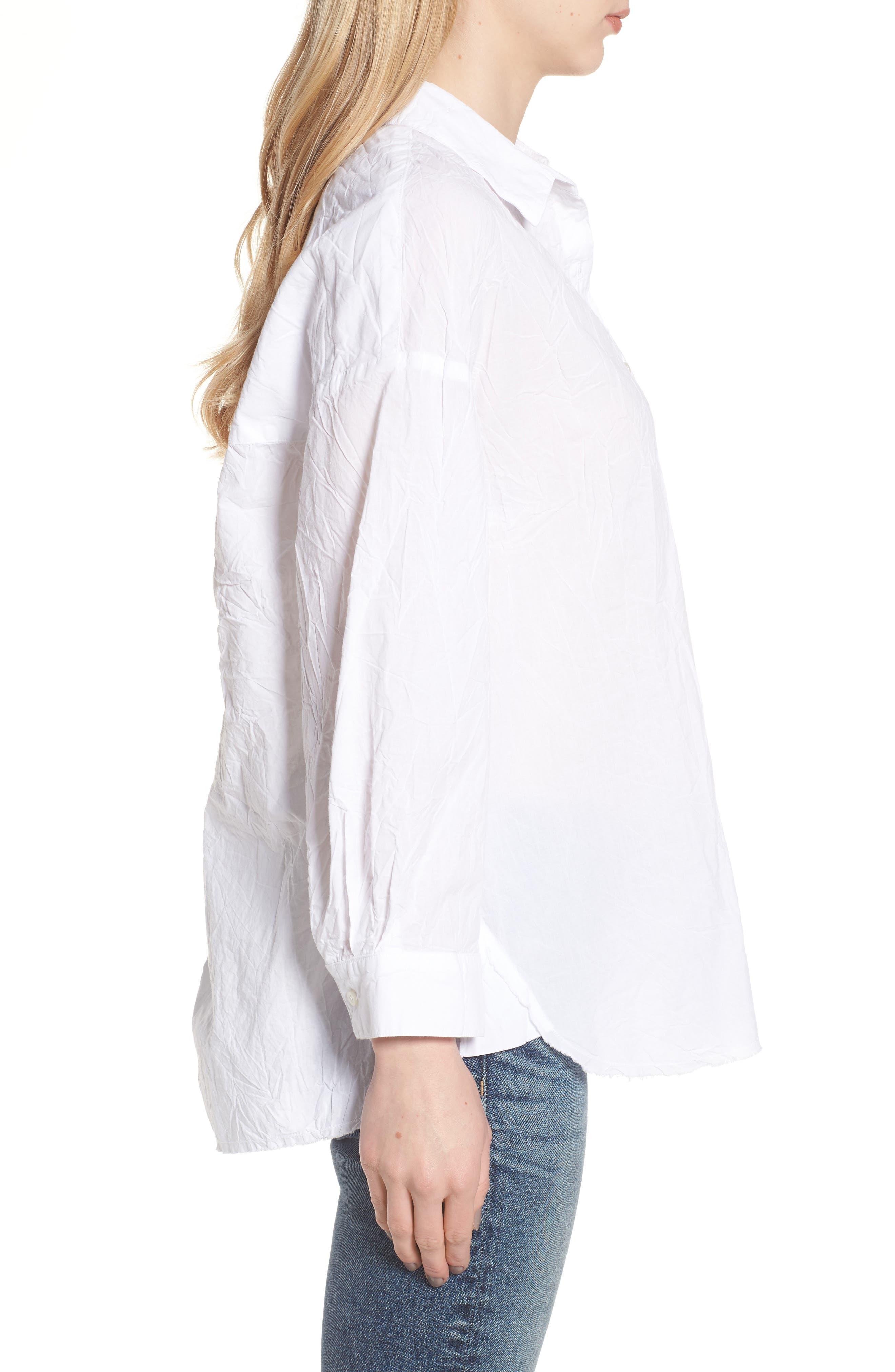 Oversize Button Front Shirt,                             Alternate thumbnail 3, color,                             WHITE